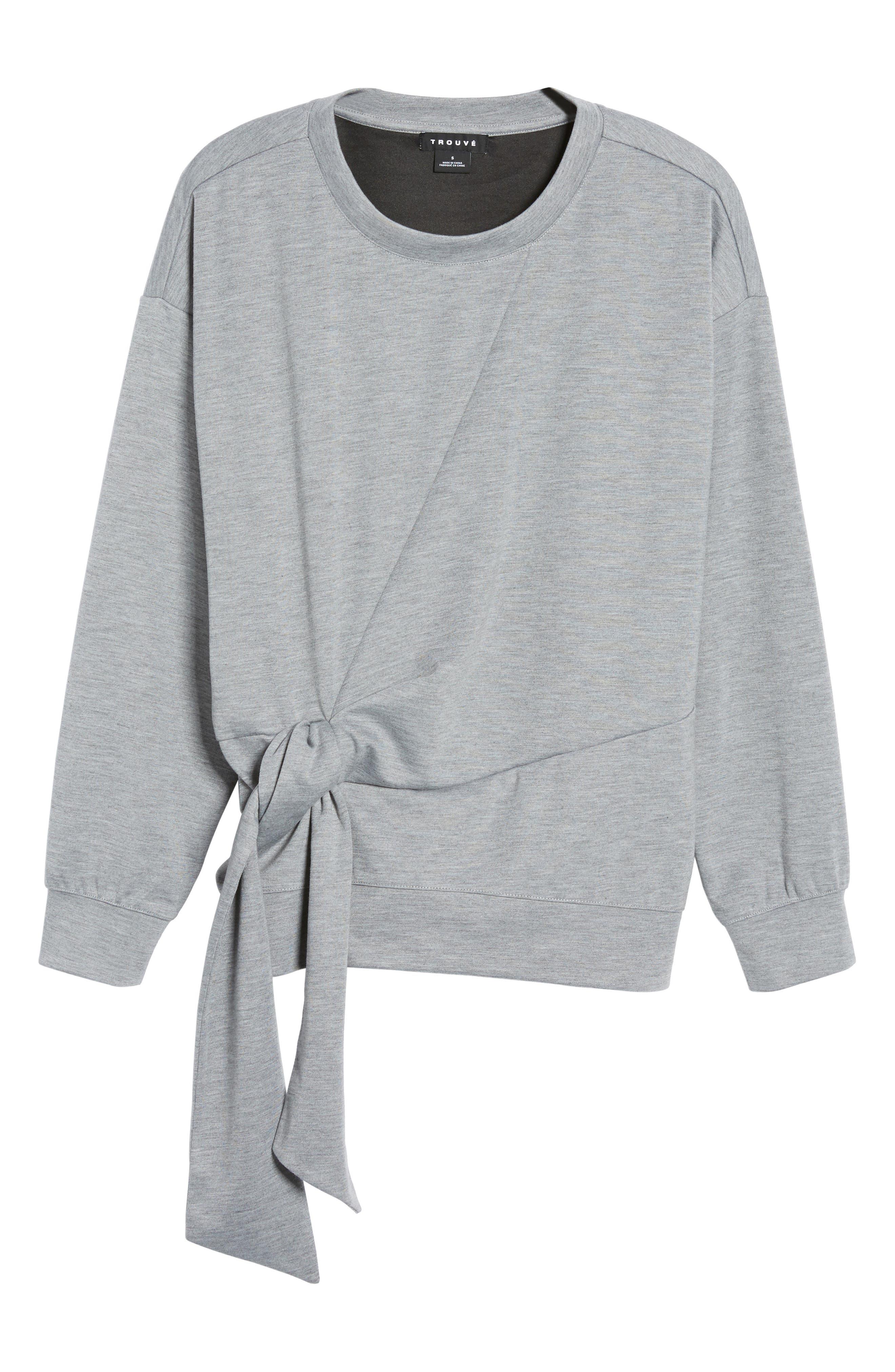 Tie Front Sweatshirt,                             Alternate thumbnail 6, color,                             030