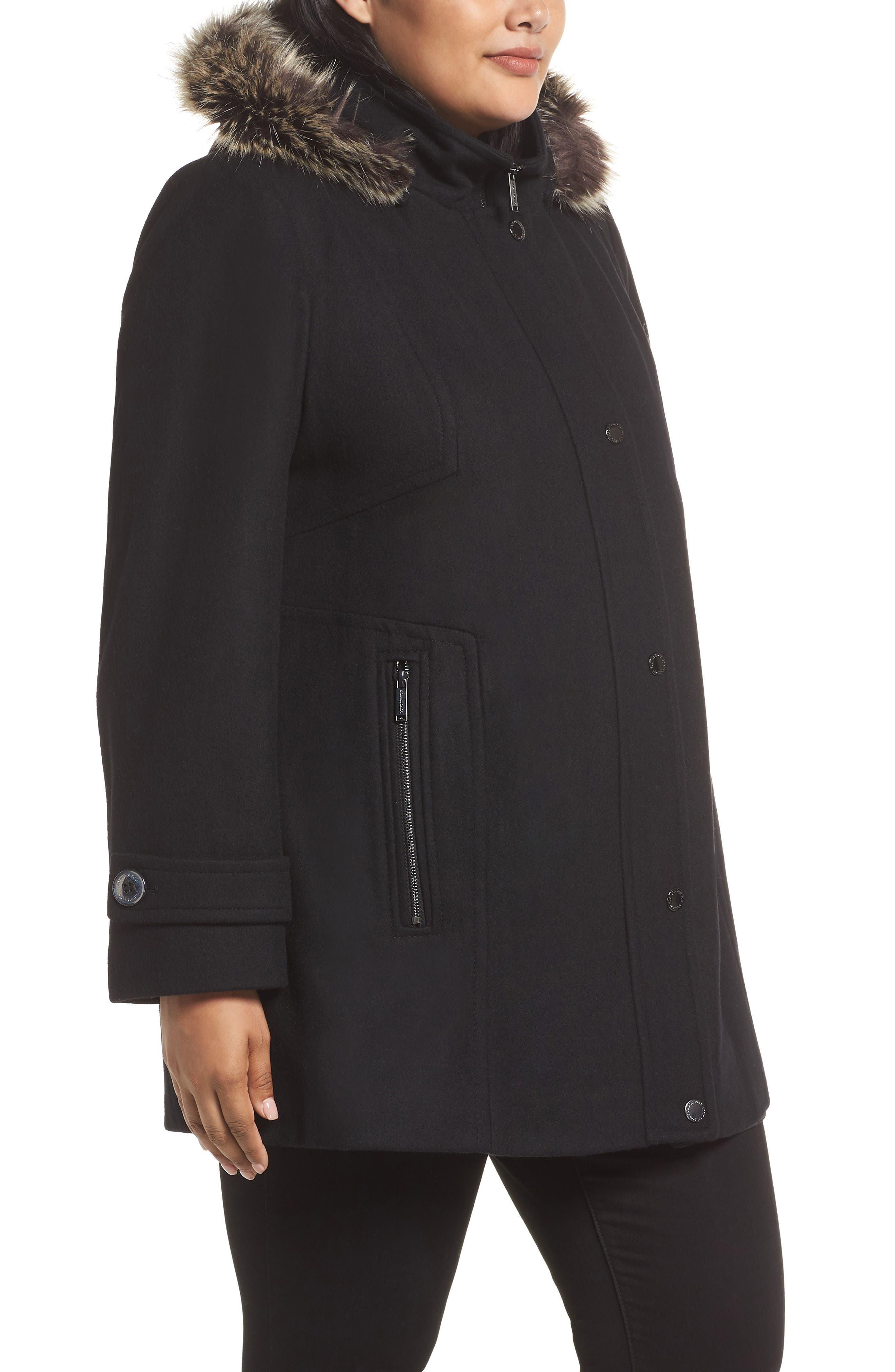 Hooded Wool Blend Coat with Faux Fur Trim,                             Alternate thumbnail 3, color,                             BLACK