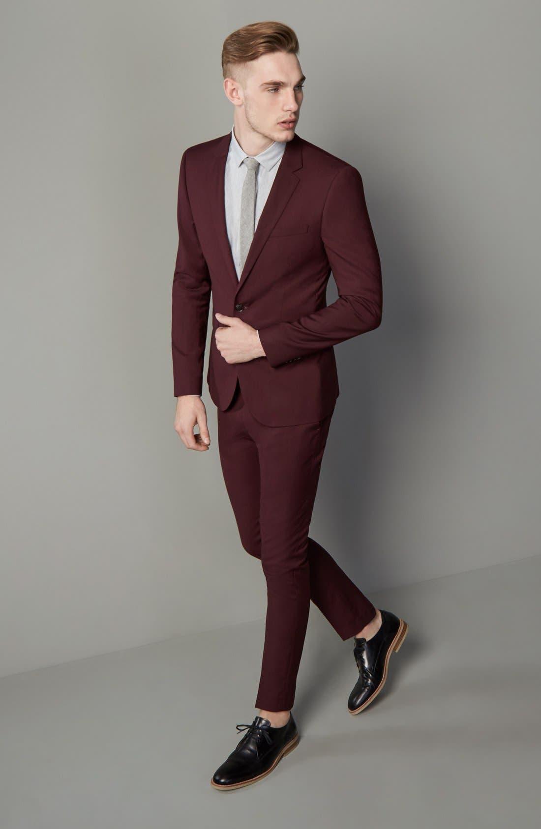 Burgundy Slim Fit Suit Jacket,                             Alternate thumbnail 6, color,                             930