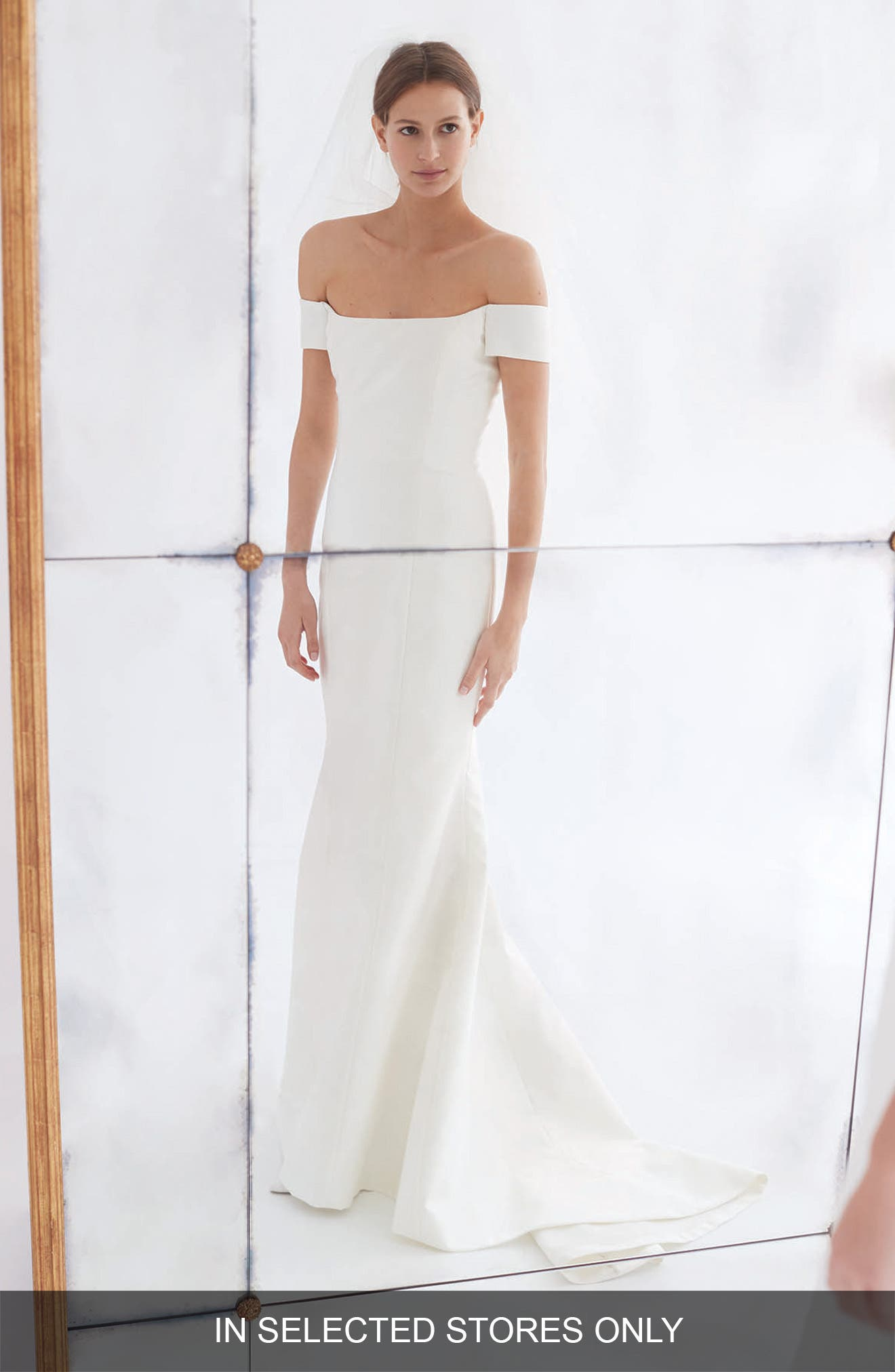 Greta Off the Shoulder Trumpet Gown,                         Main,                         color, IVORY