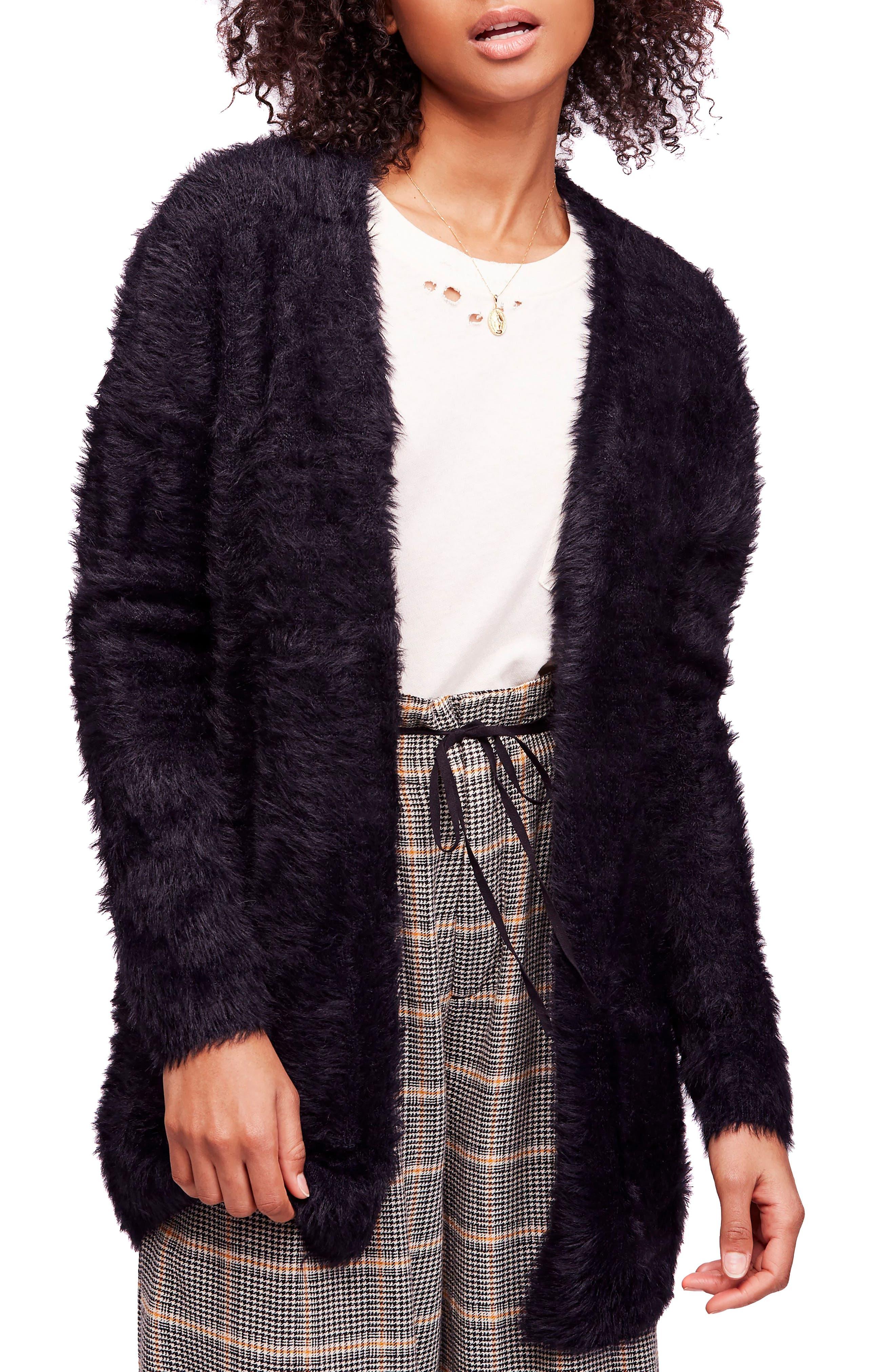 FREE PEOPLE,                             Faux Fur Cardigan,                             Main thumbnail 1, color,                             001