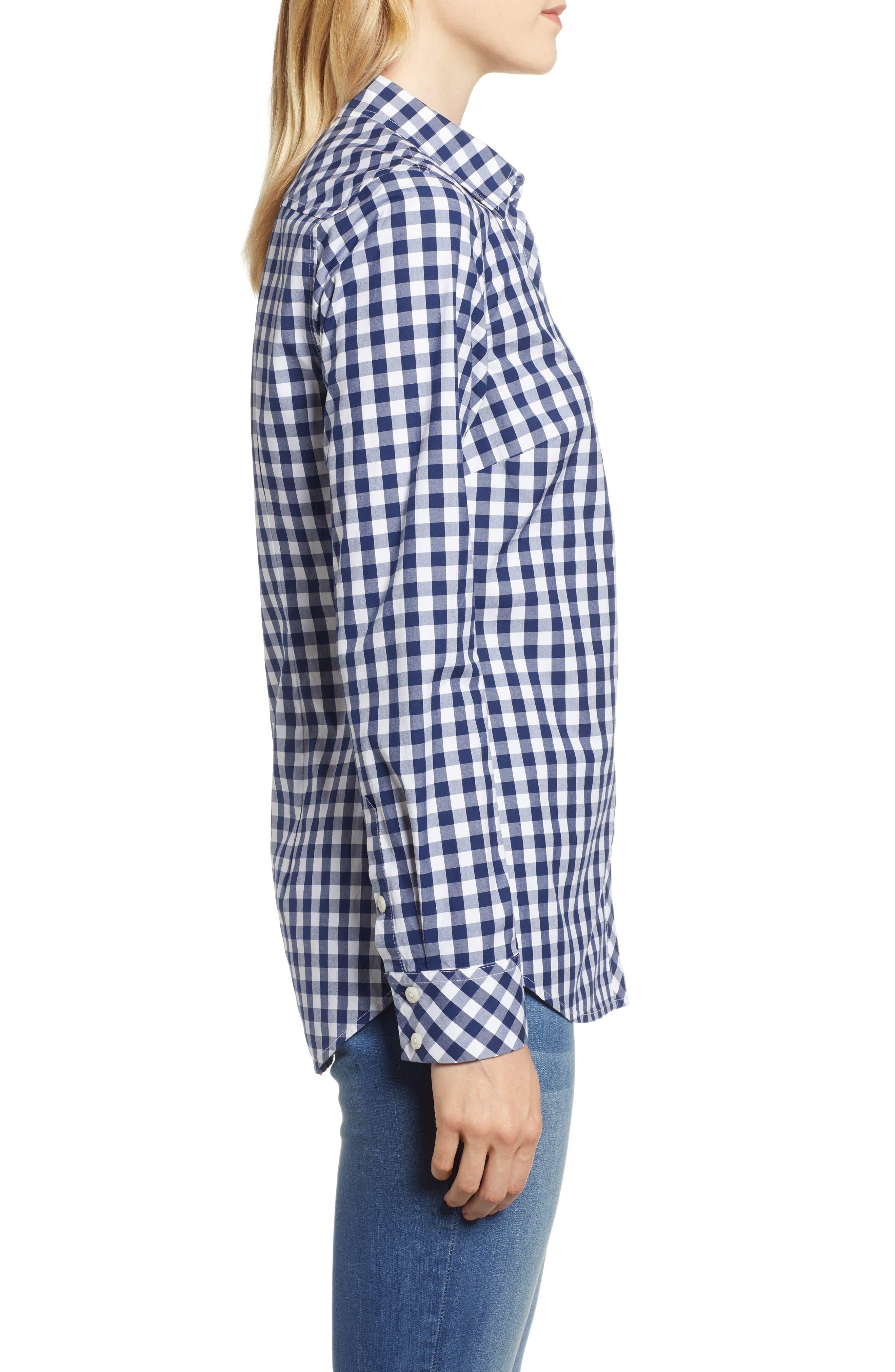 Mini Gingham Classic Button Down Shirt,                             Alternate thumbnail 3, color,                             476