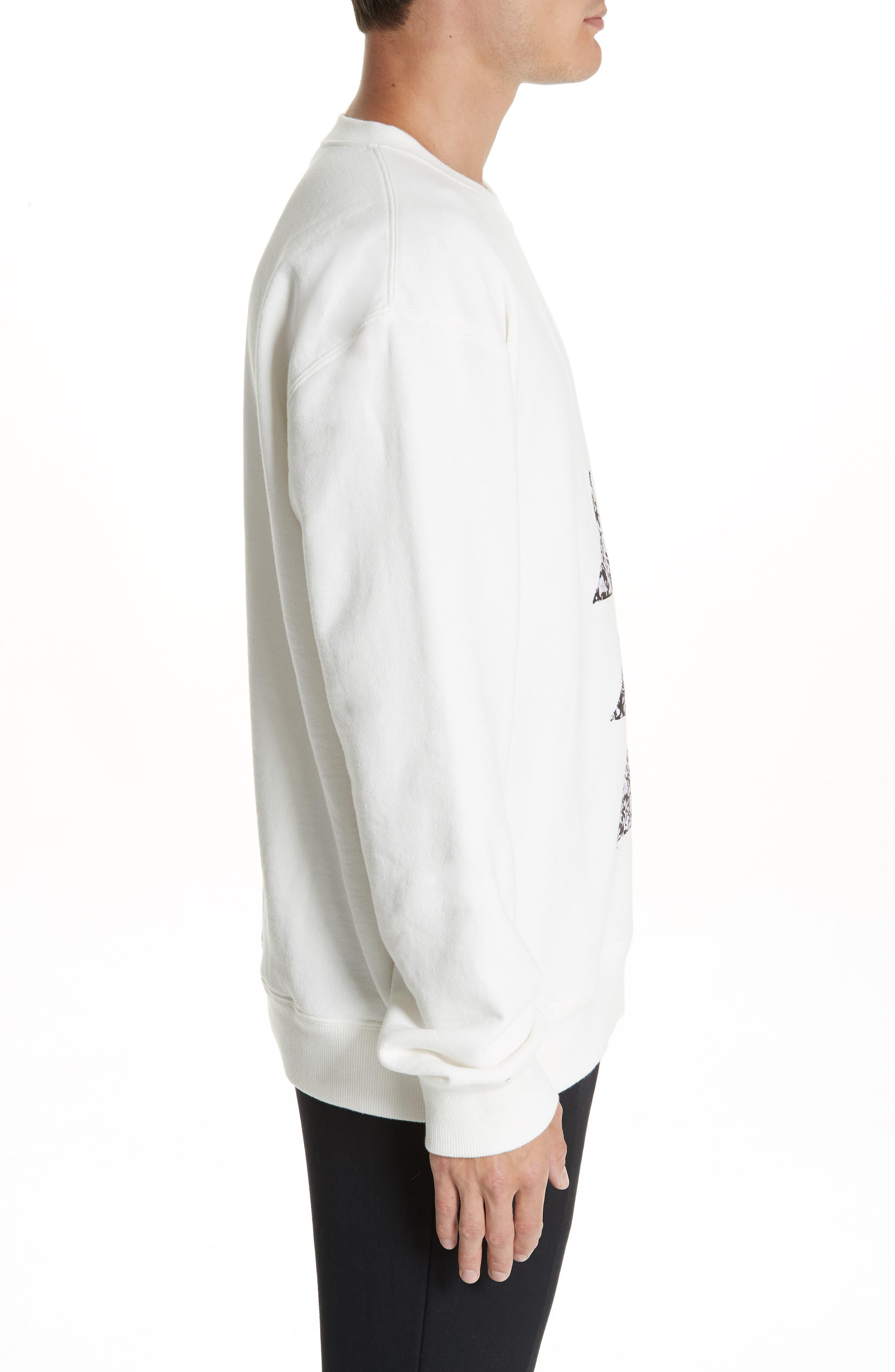 Oversize Patchwork Detail Sweatshirt,                             Alternate thumbnail 3, color,                             OFF WHITE