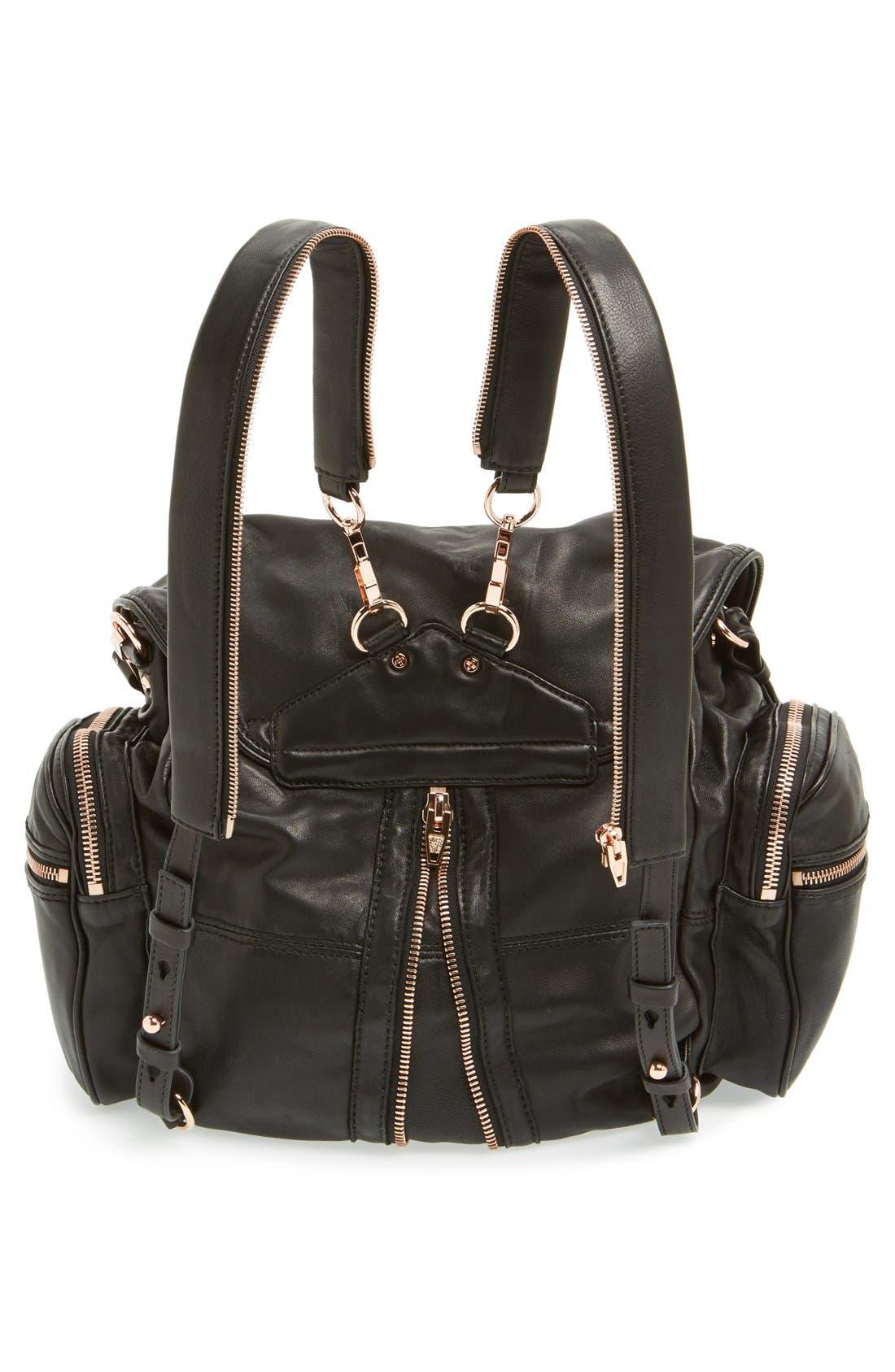 'Marti - Rose Gold' Leather Backpack,                             Alternate thumbnail 5, color,                             001