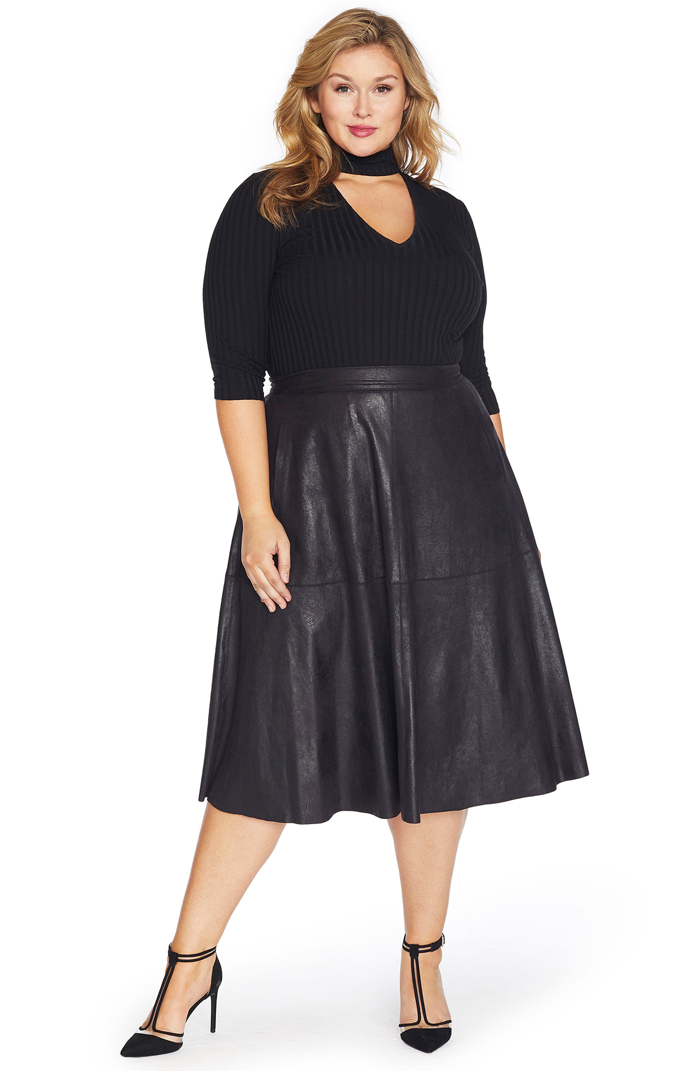 Stretch Faux Leather A-Line Skirt,                             Alternate thumbnail 4, color,                             002