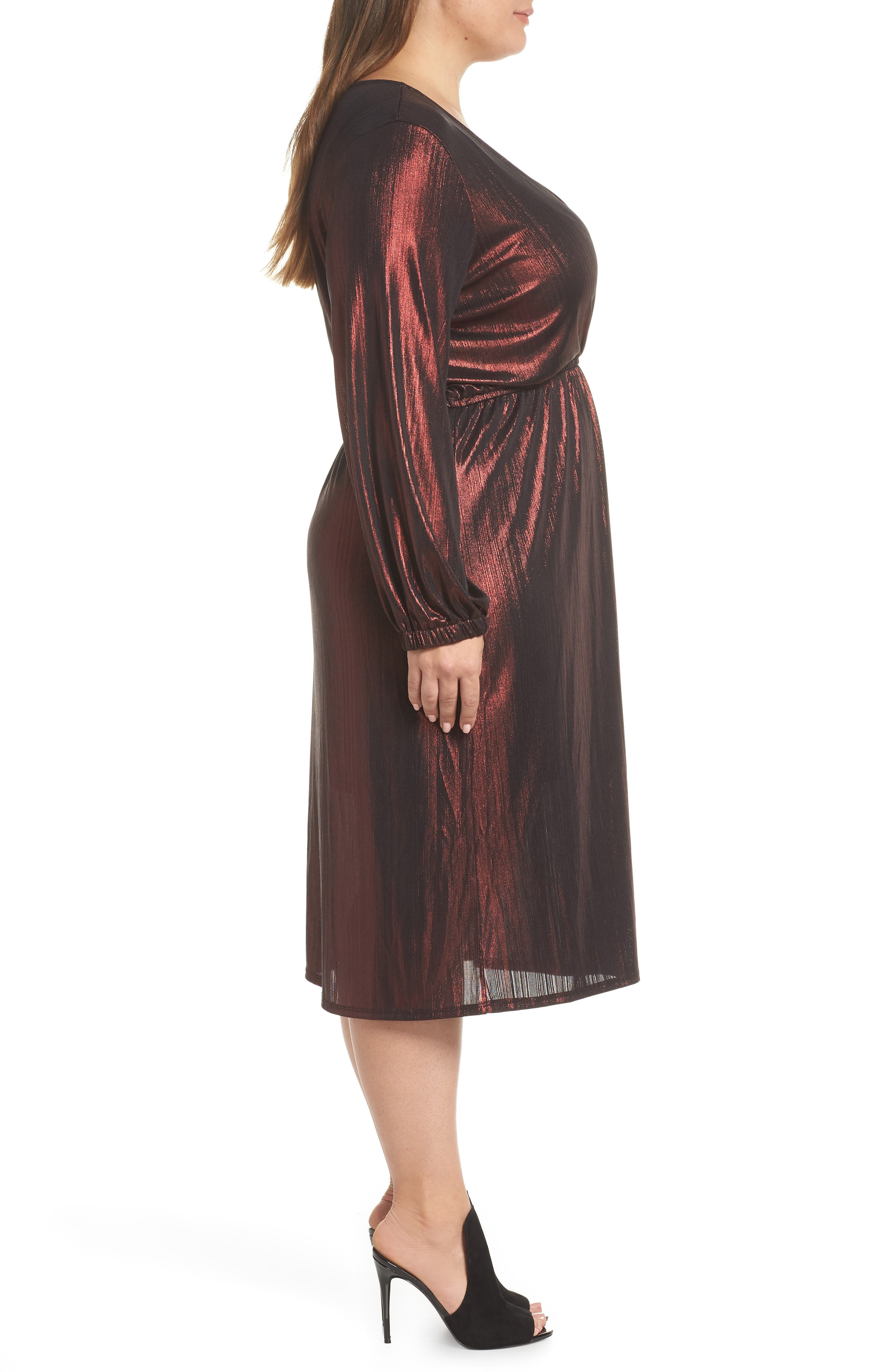 Long Sleeve Deep V-Neck Midi Dress,                             Alternate thumbnail 3, color,                             ROSE GOLD