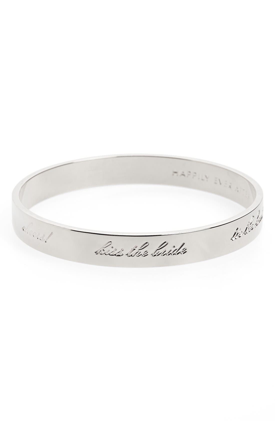 'idiom - happily ever after' bangle,                             Main thumbnail 1, color,                             BRIDE- SILVER