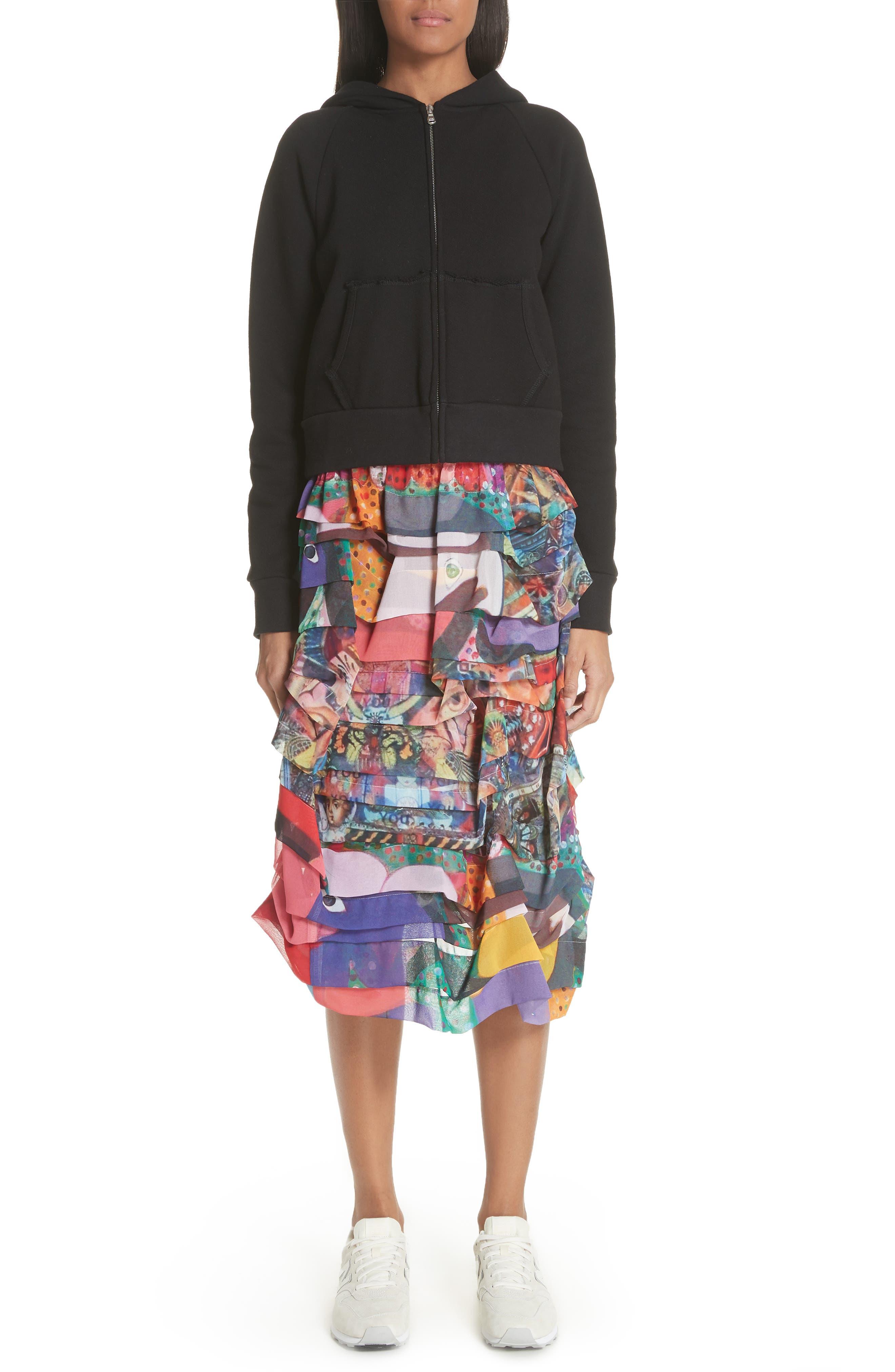 Print Tiered Skirt,                             Alternate thumbnail 7, color,