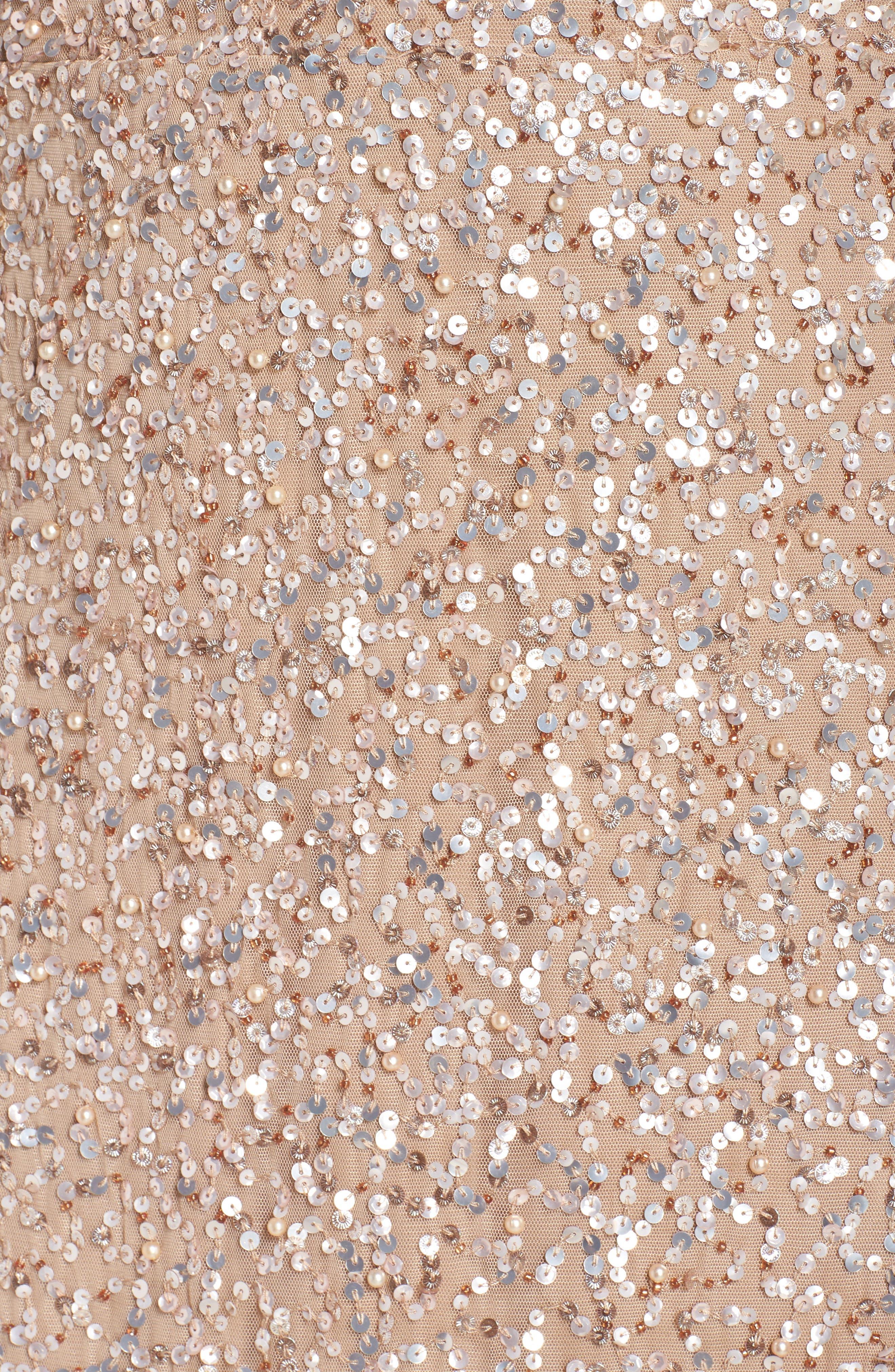 Flutter Sleeve Beaded Sequin Gown,                             Alternate thumbnail 5, color,                             710