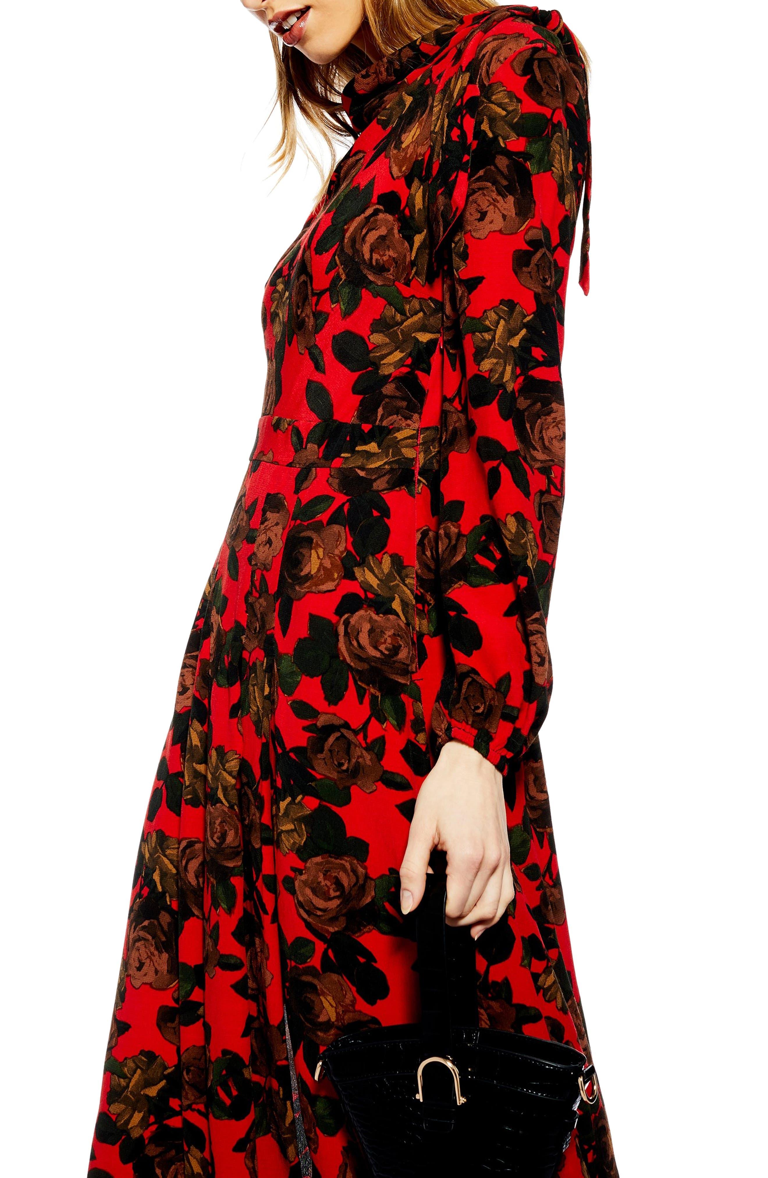 TOPSHOP,                             Rose Cut Tie Neck Midi Dress,                             Alternate thumbnail 3, color,                             RED MULTI