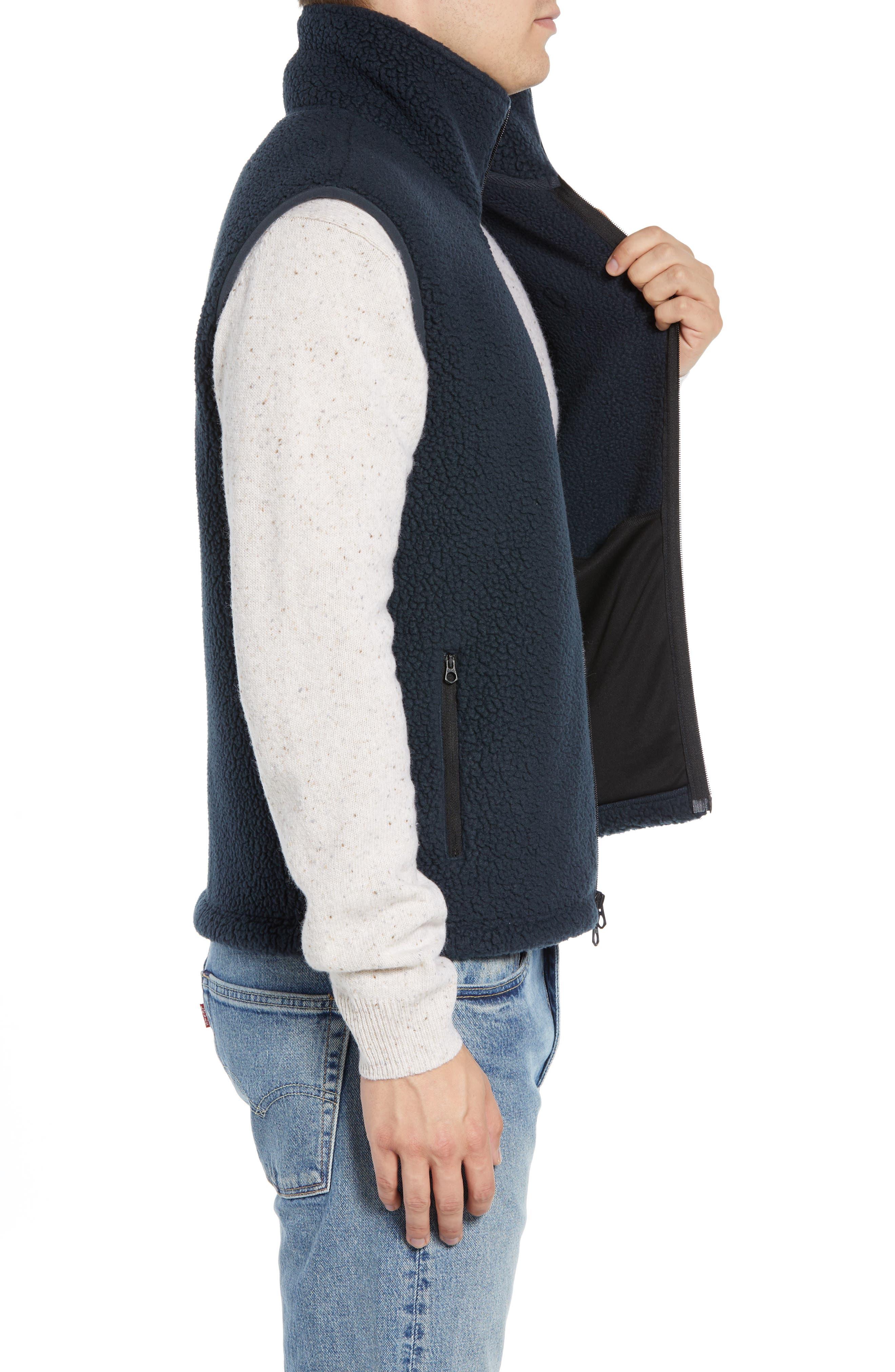Fleece Zip Vest,                             Alternate thumbnail 3, color,                             NAVY