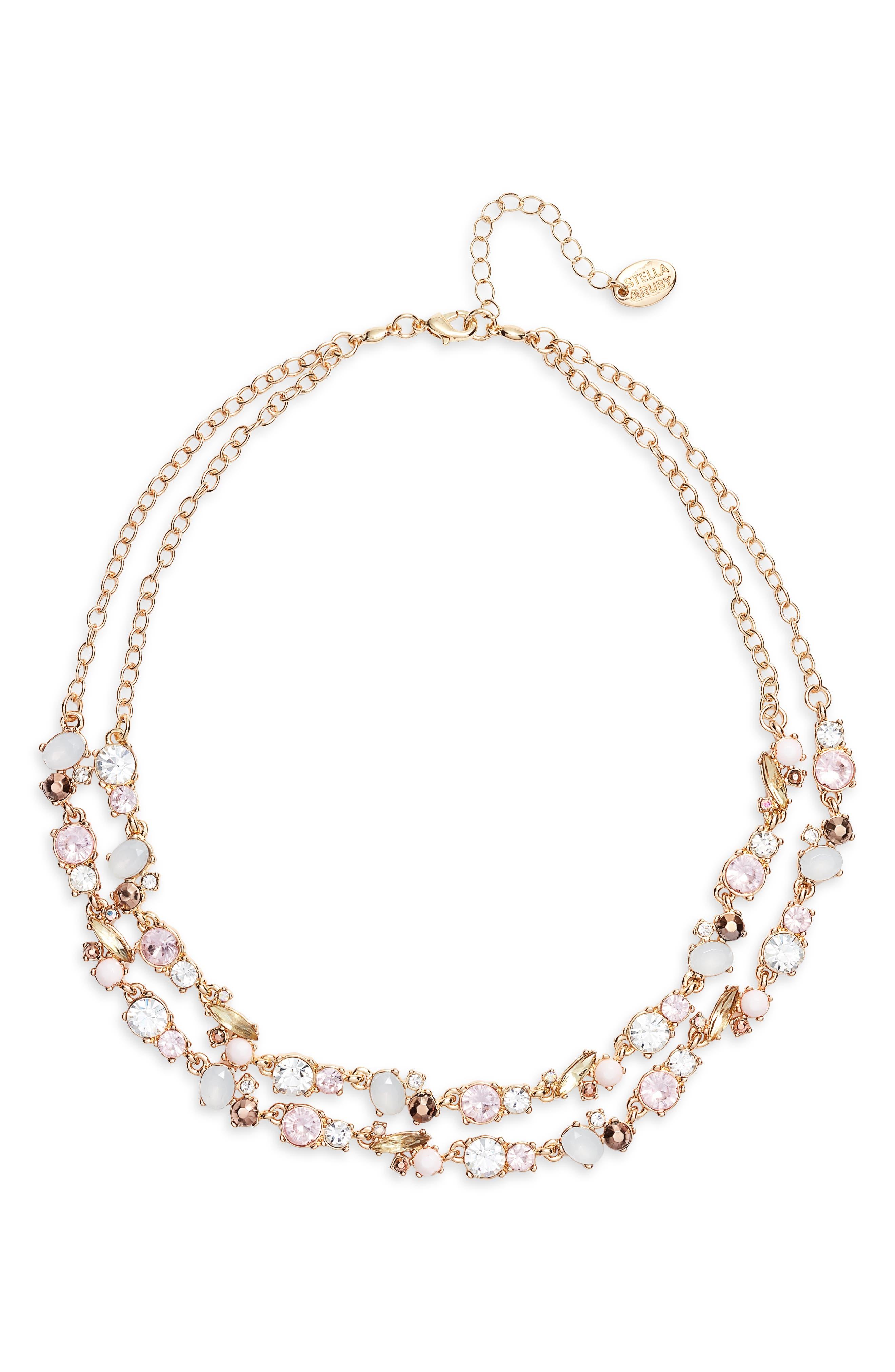 STELLA + RUBY,                             Dua Necklace,                             Main thumbnail 1, color,                             GOLD/ PINK