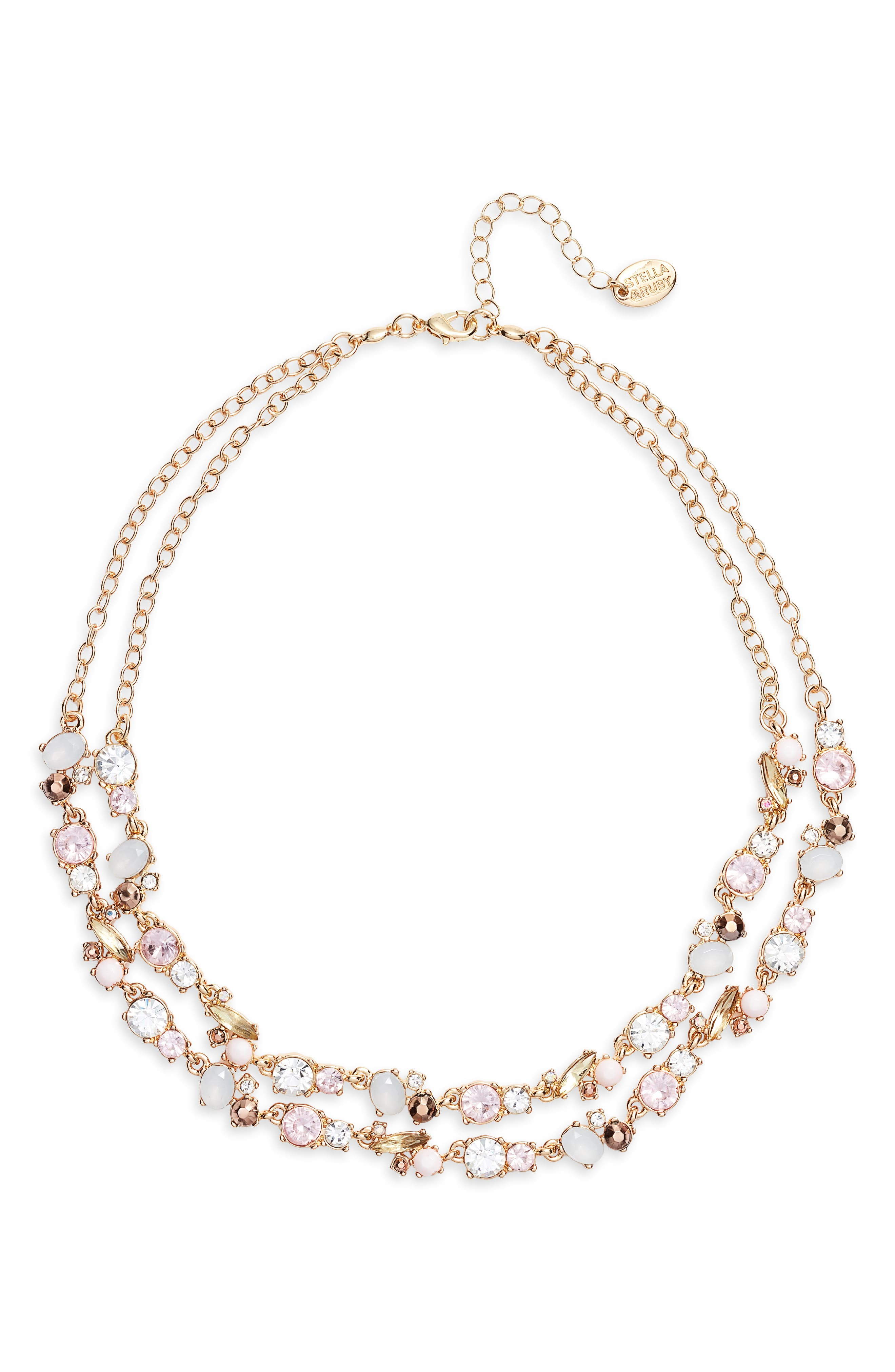STELLA + RUBY Dua Necklace, Main, color, GOLD/ PINK