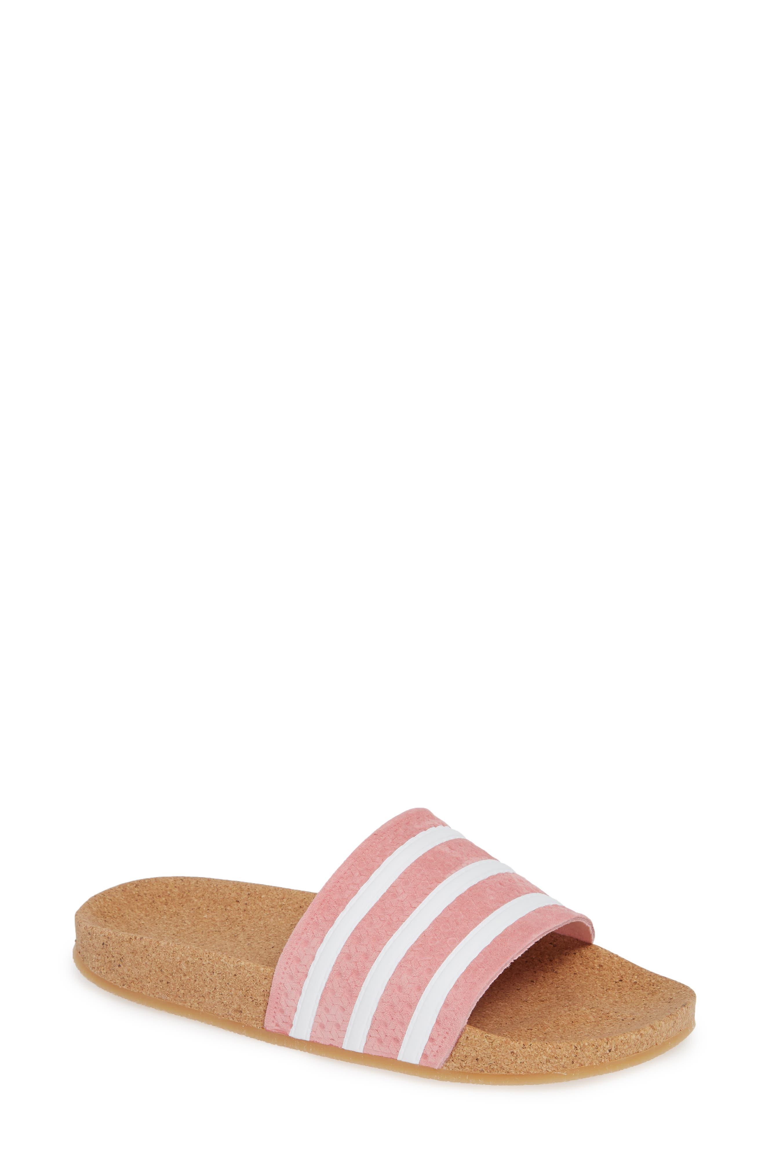 Adilette Slide Sandal,                             Main thumbnail 1, color,                             SUPER POP/ WHITE/ GUM4