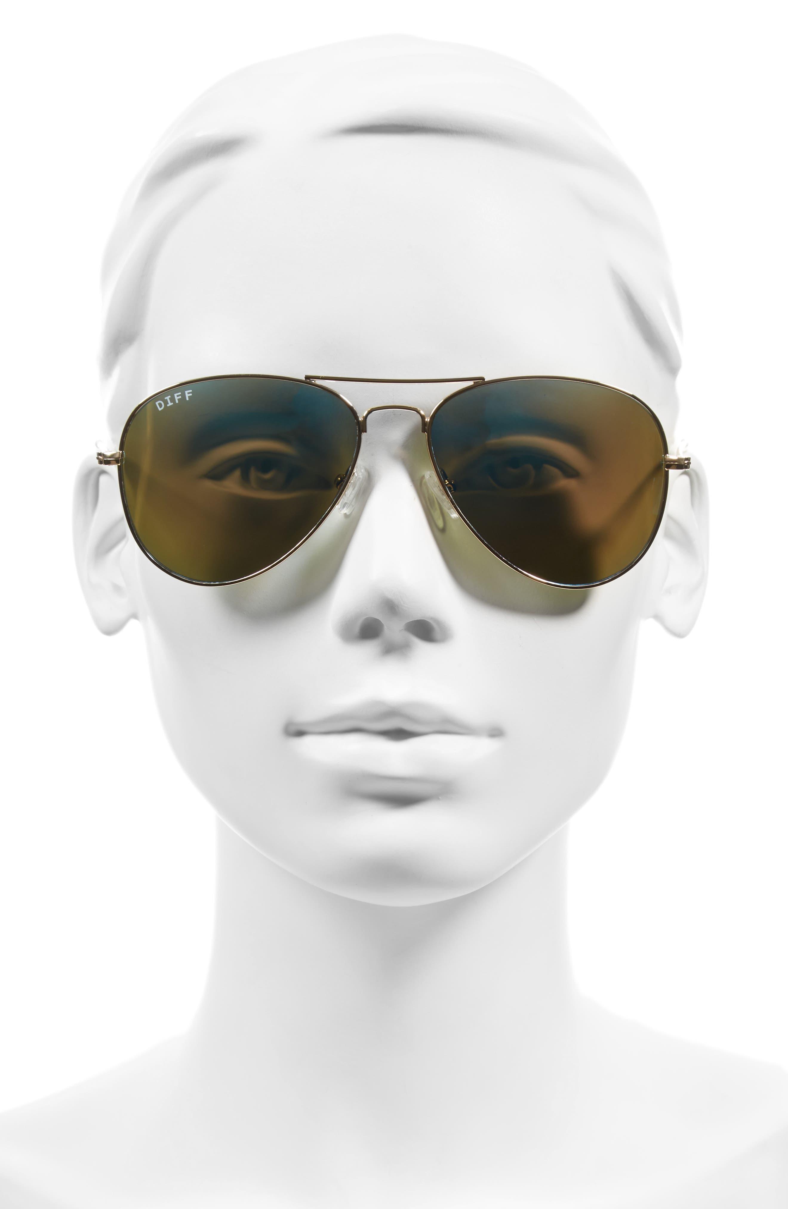 Cruz 57mm Metal Aviator Sunglasses,                             Alternate thumbnail 2, color,                             GOLD/ BLUE