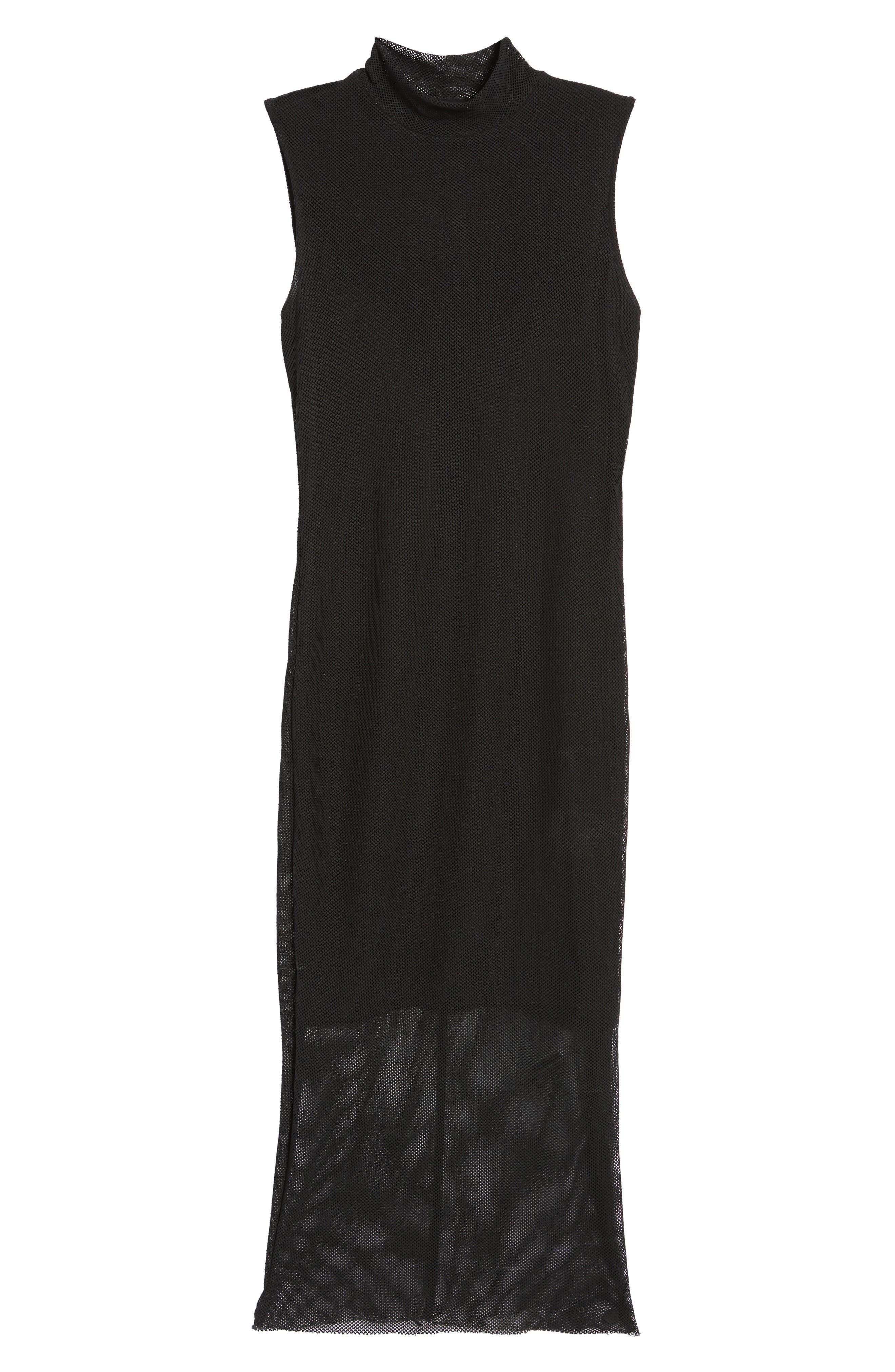 Mesh Body-Con Dress,                             Alternate thumbnail 6, color,                             001