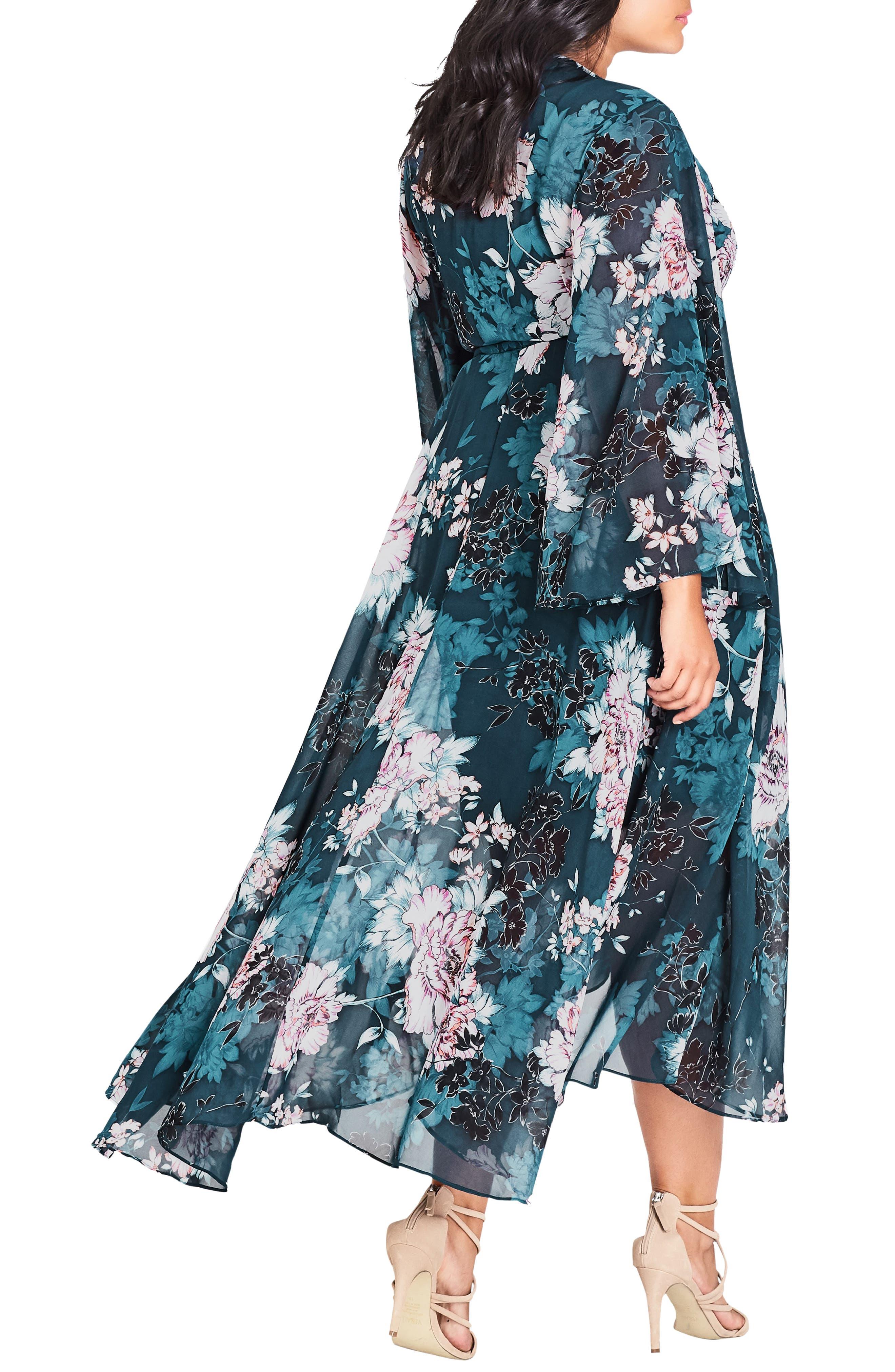 CITY CHIC,                             Jade Blossom Wrap Maxi Dress,                             Alternate thumbnail 2, color,                             JADE BLOSSOM