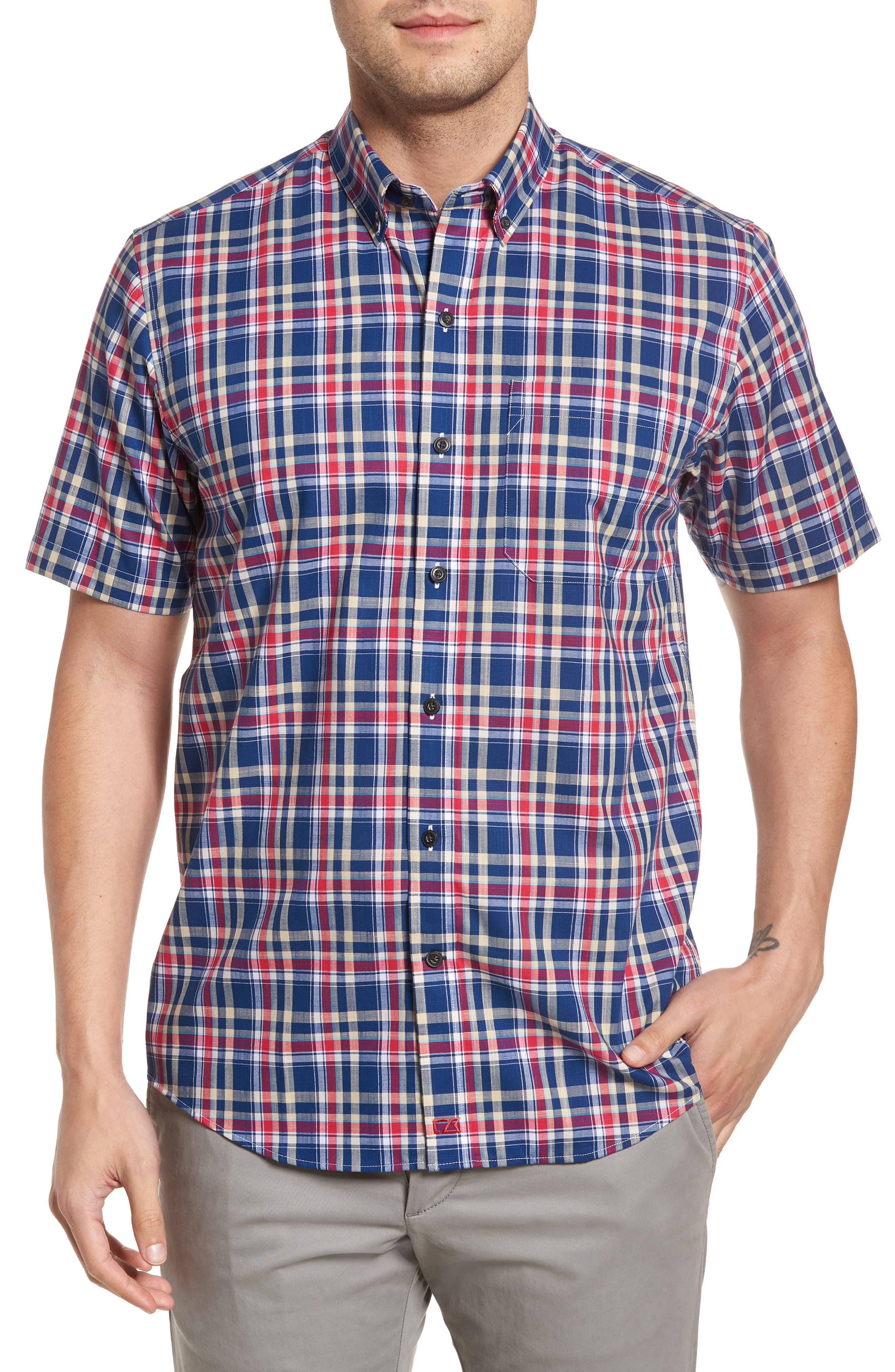 Sebastian Classic Fit Non-Iron Plaid Sport Shirt,                             Main thumbnail 2, color,