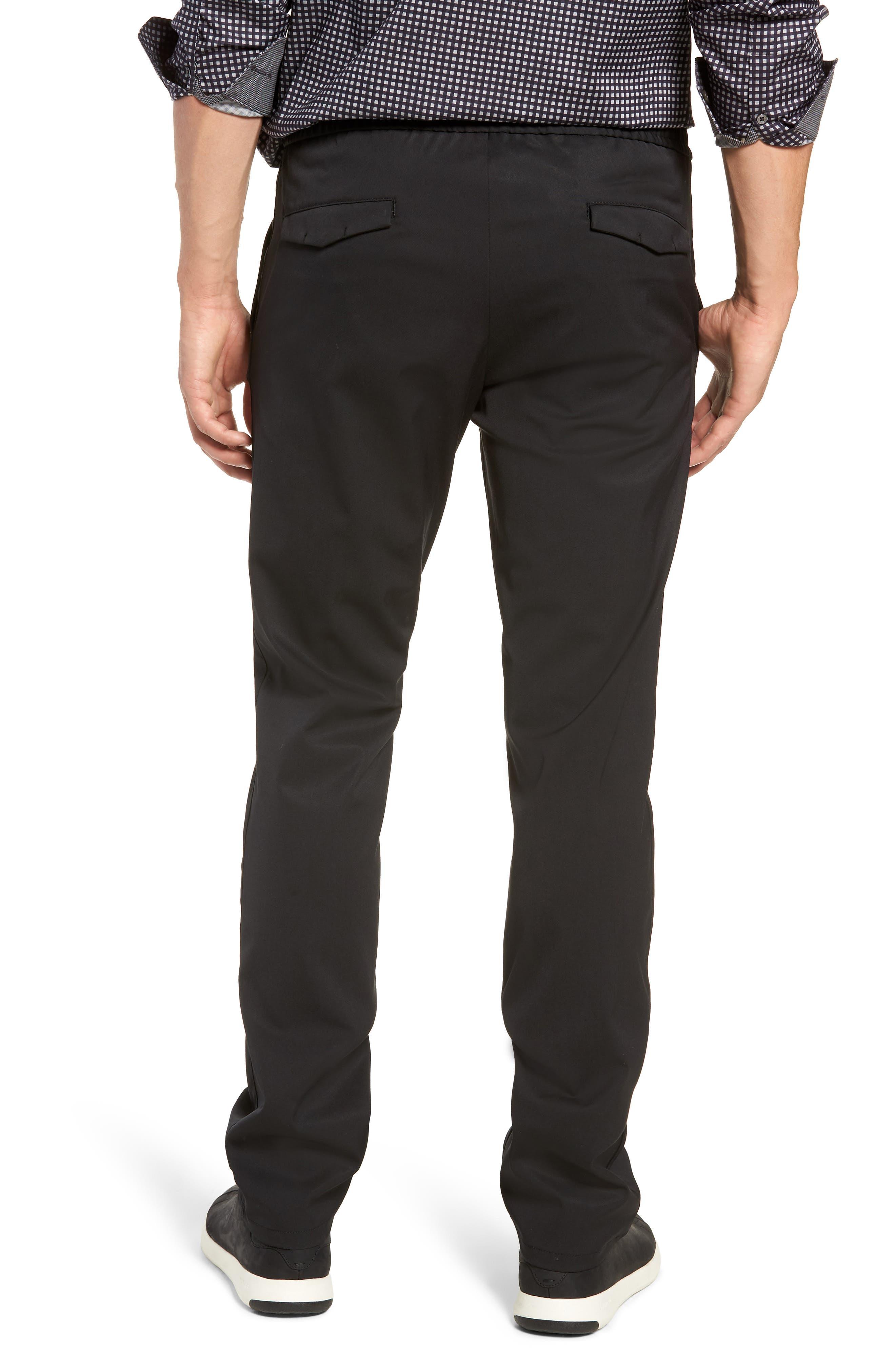 Drawstring Flat Front Pants,                             Alternate thumbnail 2, color,                             BLACK