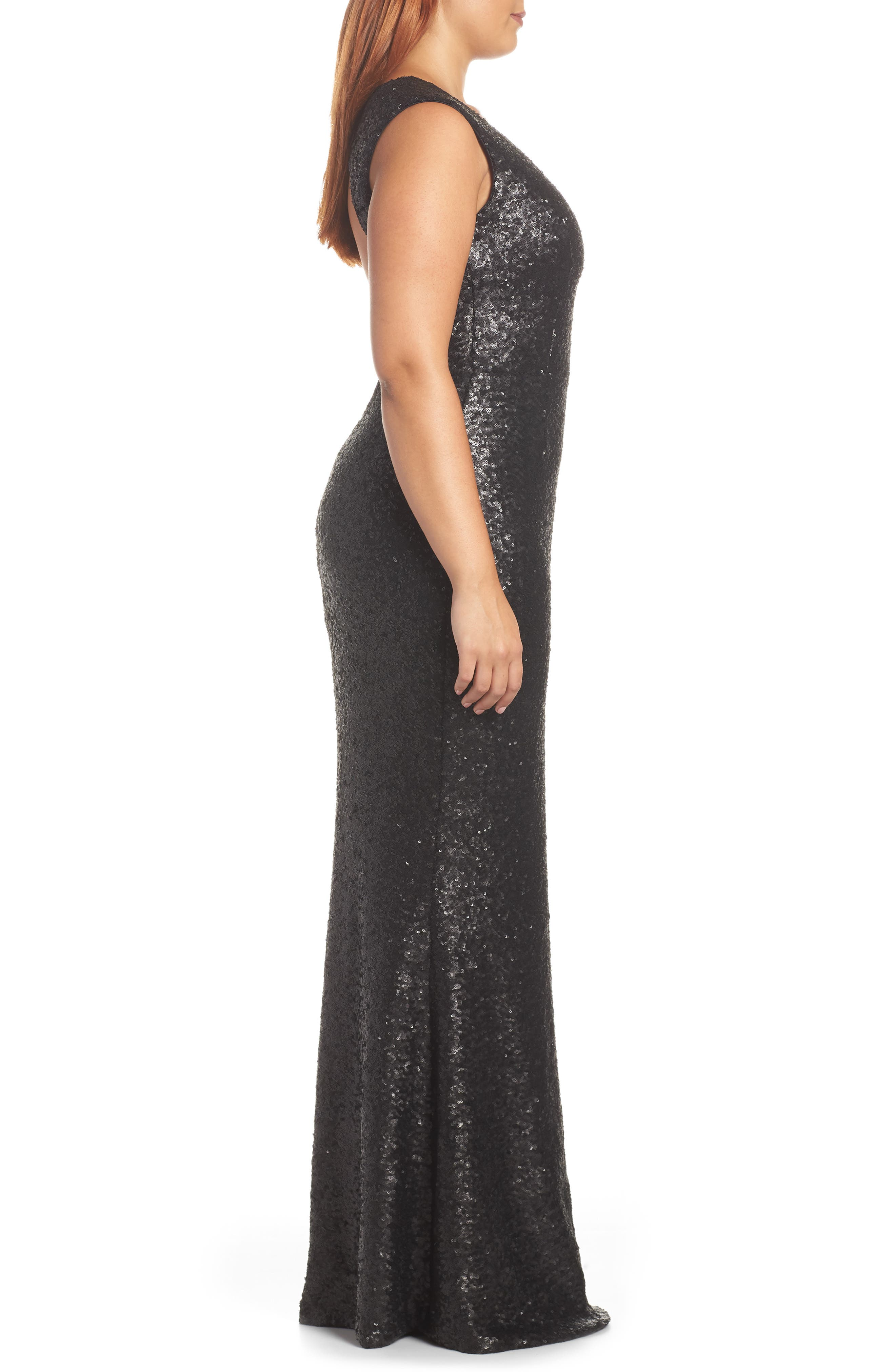 Karina Plunge Mermaid Gown,                             Alternate thumbnail 8, color,                             MATTE BLACK