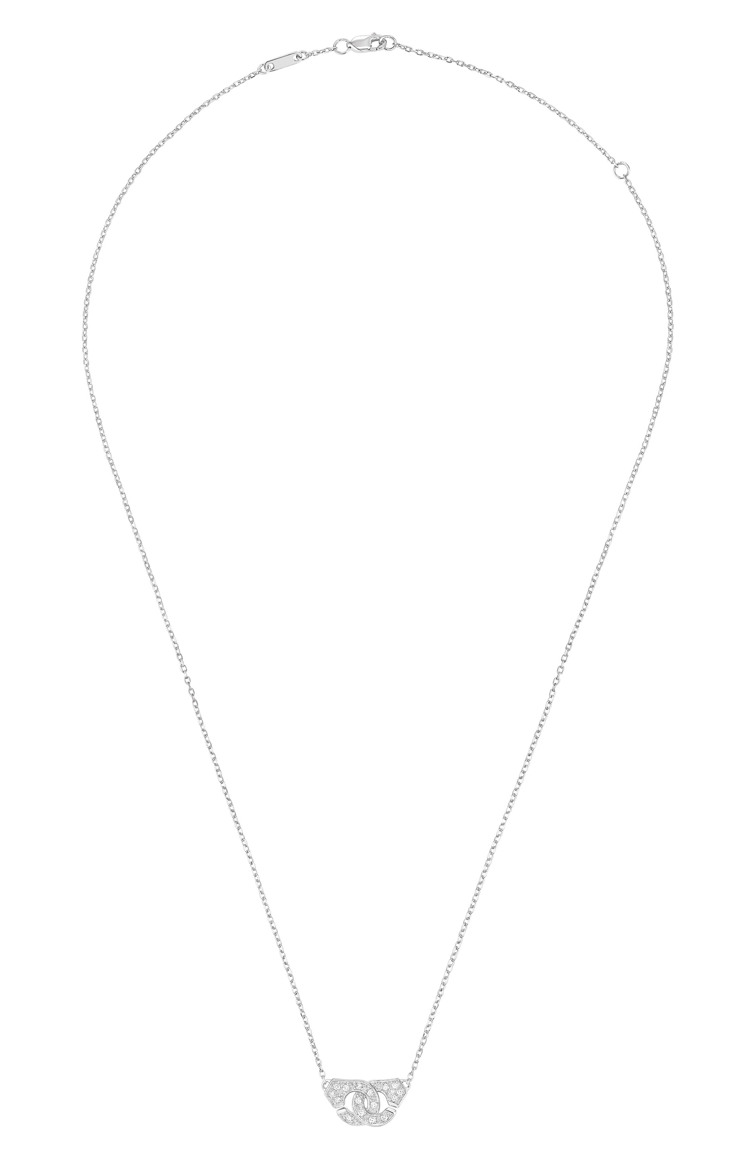 DINH VAN Menottes Trace Pave Diamond Necklace in White Gold