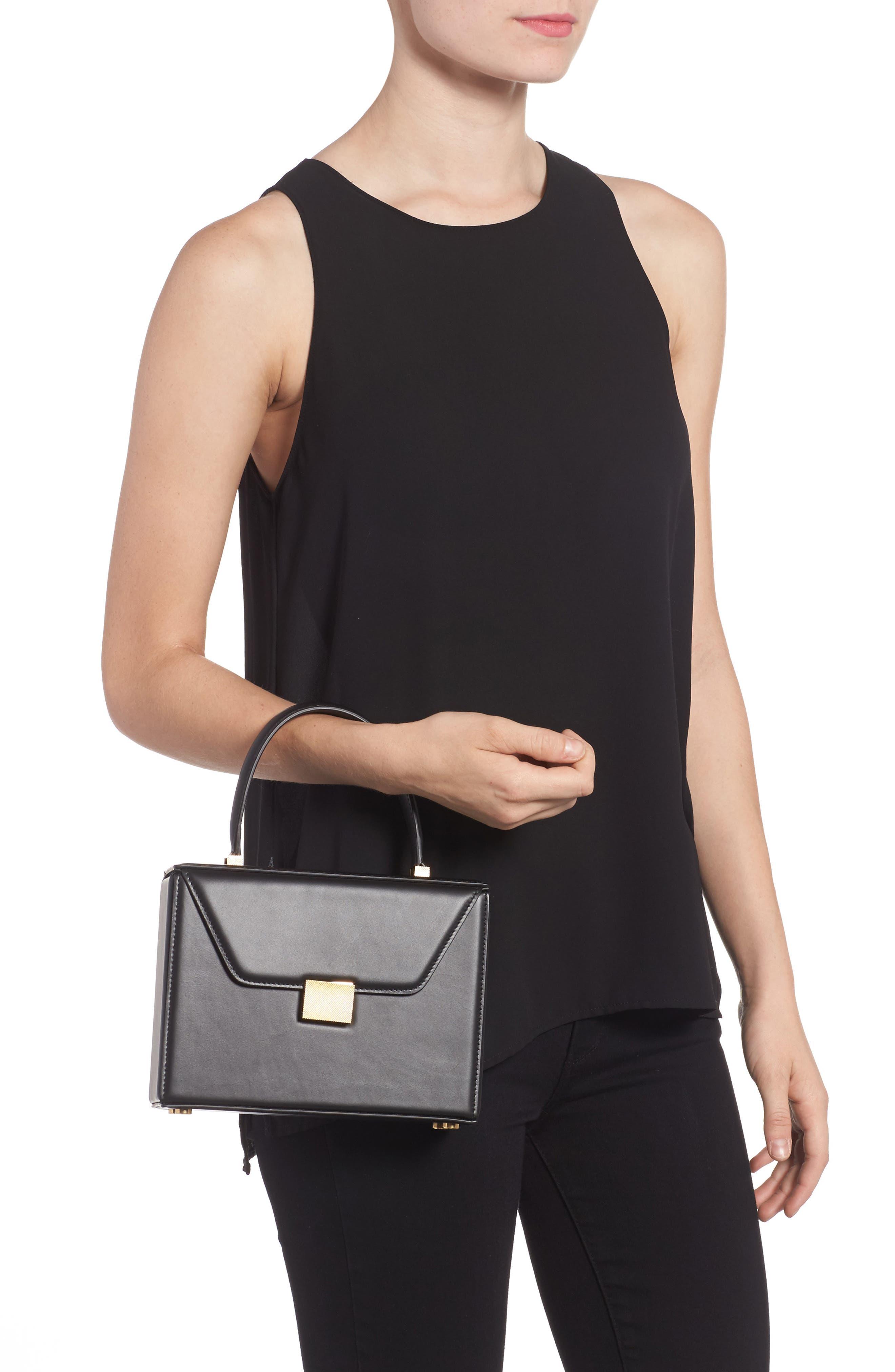 Mini Vanity Top Handle Box Bag,                             Alternate thumbnail 2, color,                             BLACK