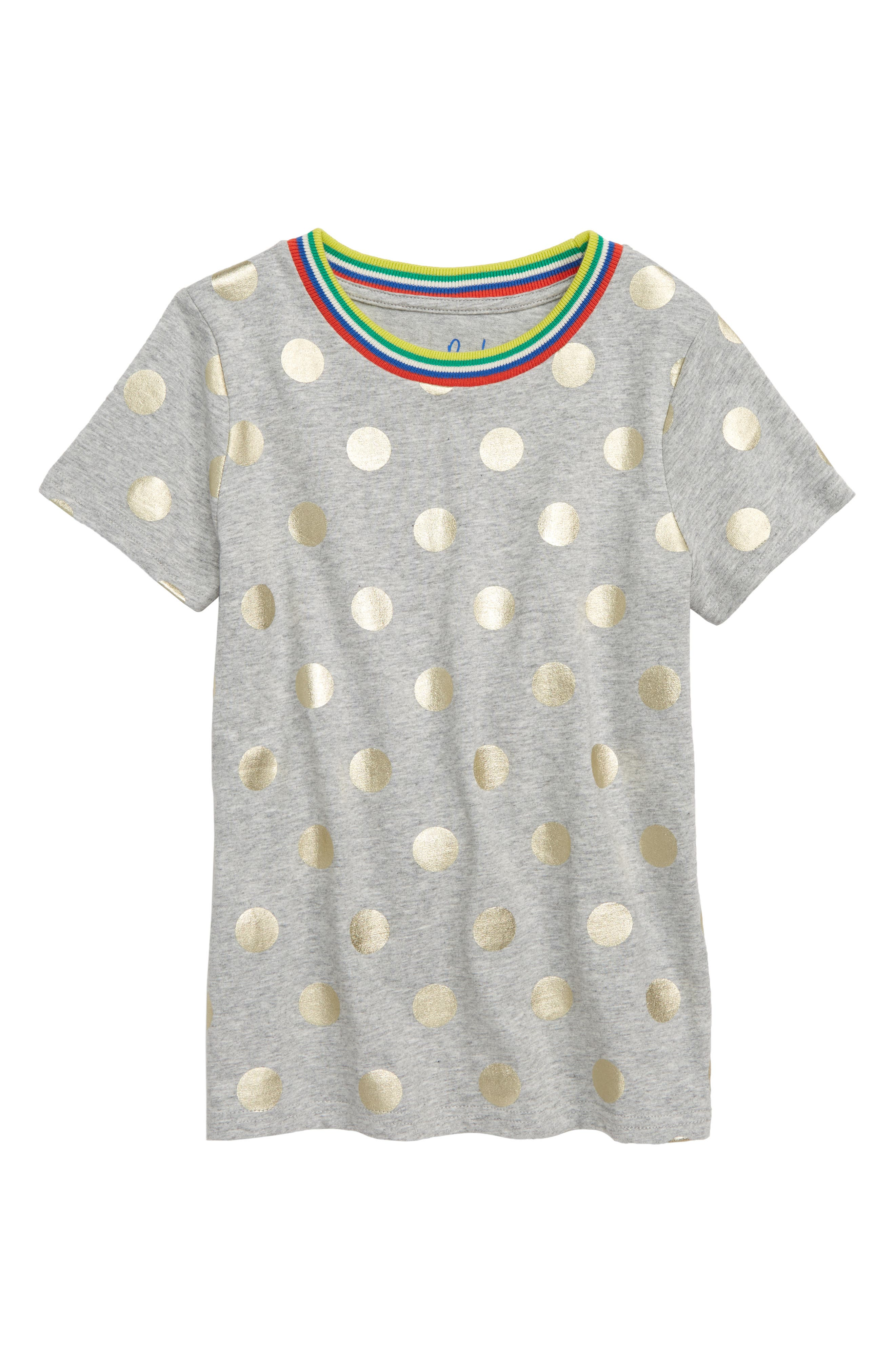 Time to Shine Tee,                         Main,                         color, GREY MARLE/ GOLD FOIL SPOT