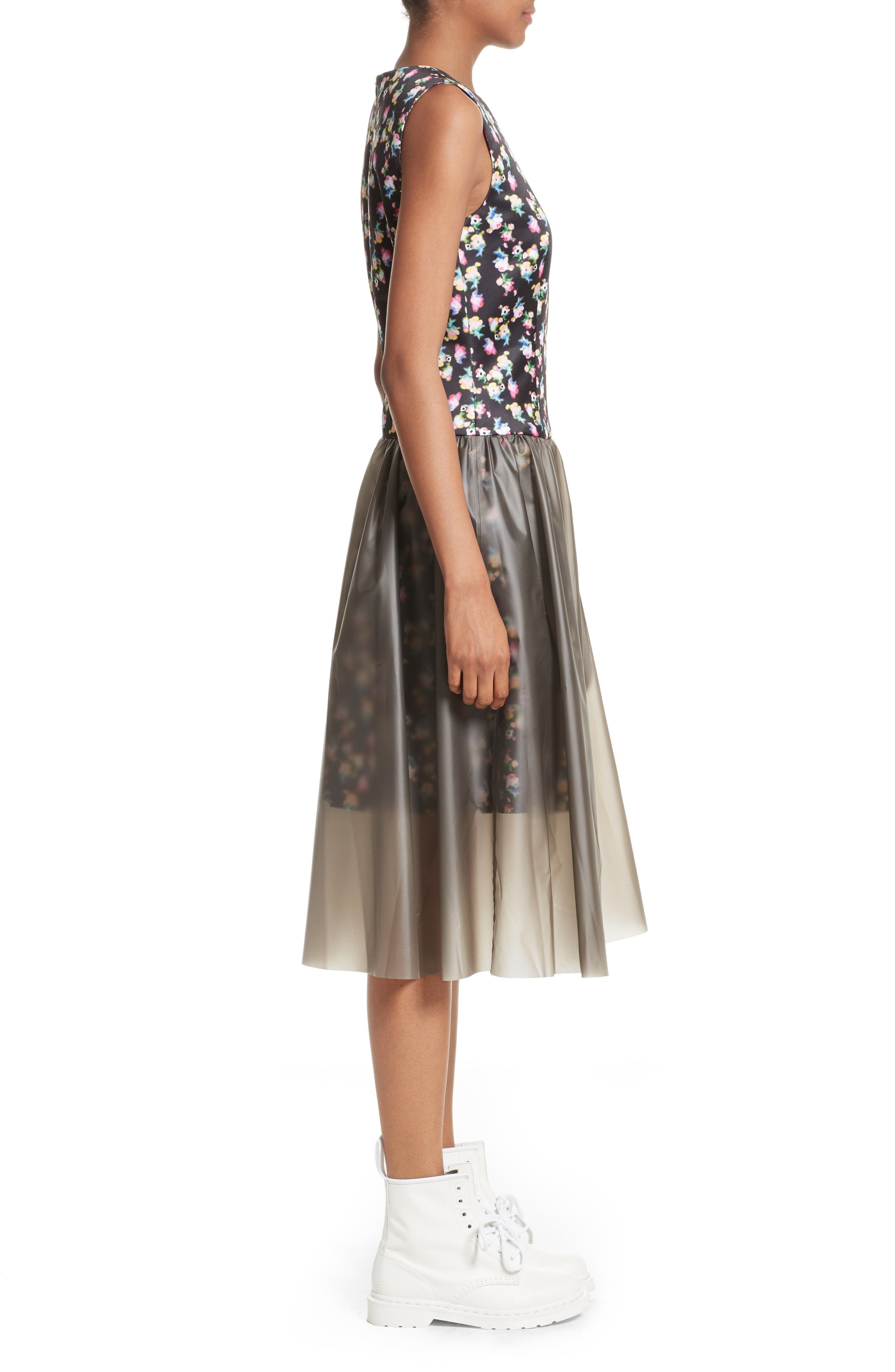 Floral Print Fit & Flare Dress with Vinyl Skirt,                             Alternate thumbnail 3, color,                             001