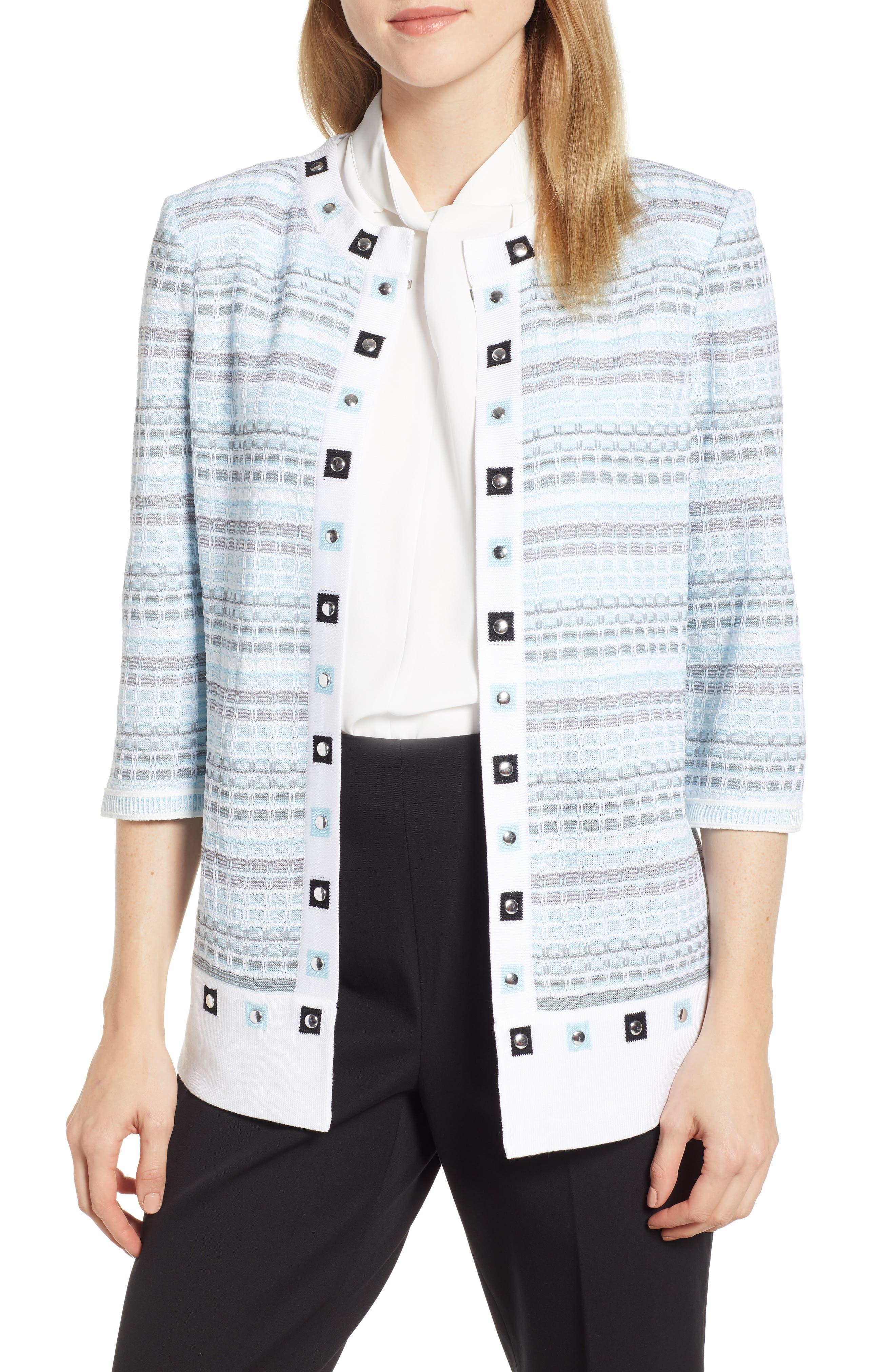 Ming Wang Studded Jacket, Blue