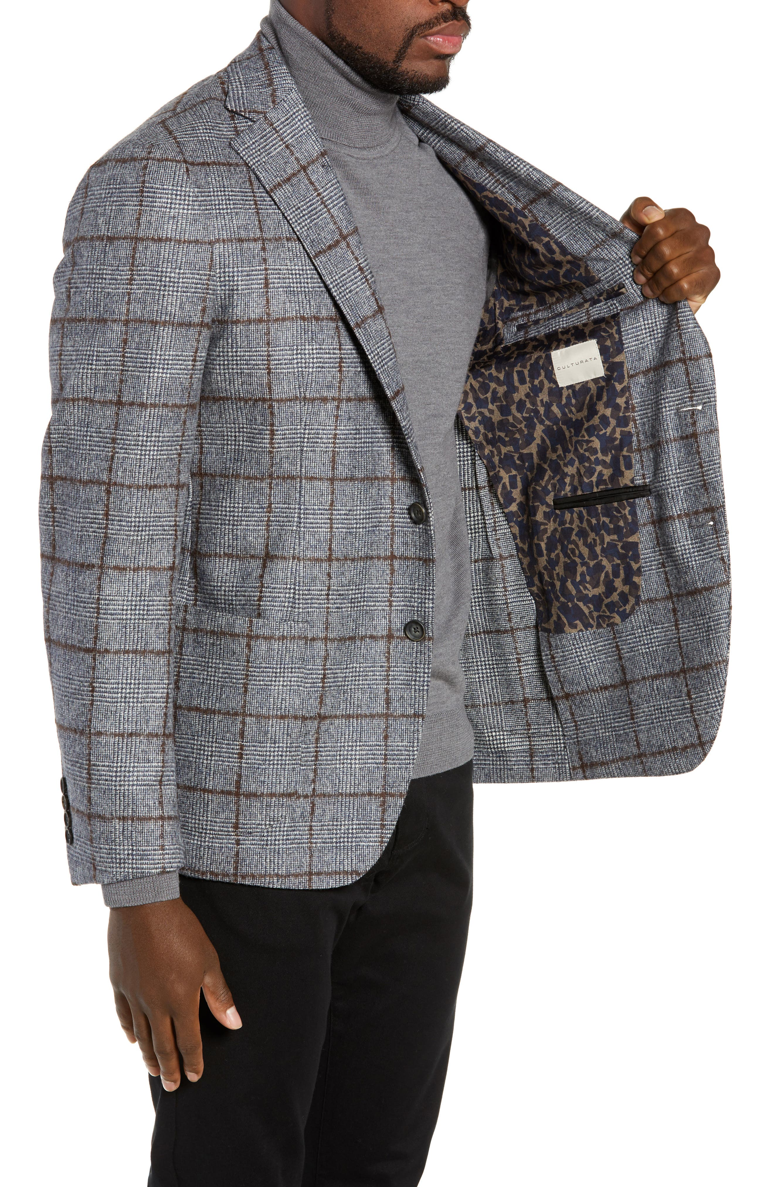 Trim Fit Plaid Wool Sport Coat,                             Alternate thumbnail 3, color,                             NAVY