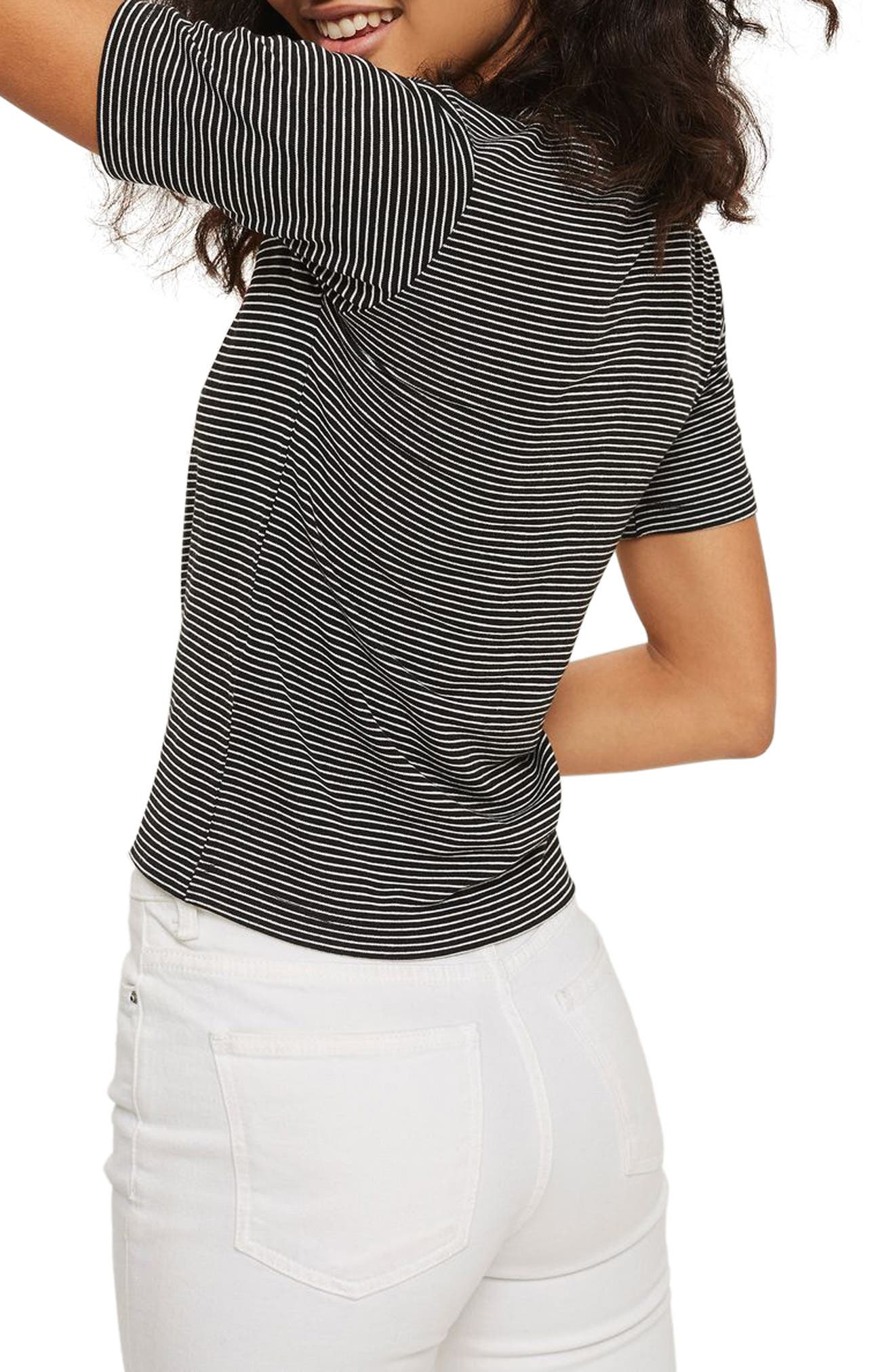 Oui Non Embroidered Tee,                             Alternate thumbnail 2, color,                             001