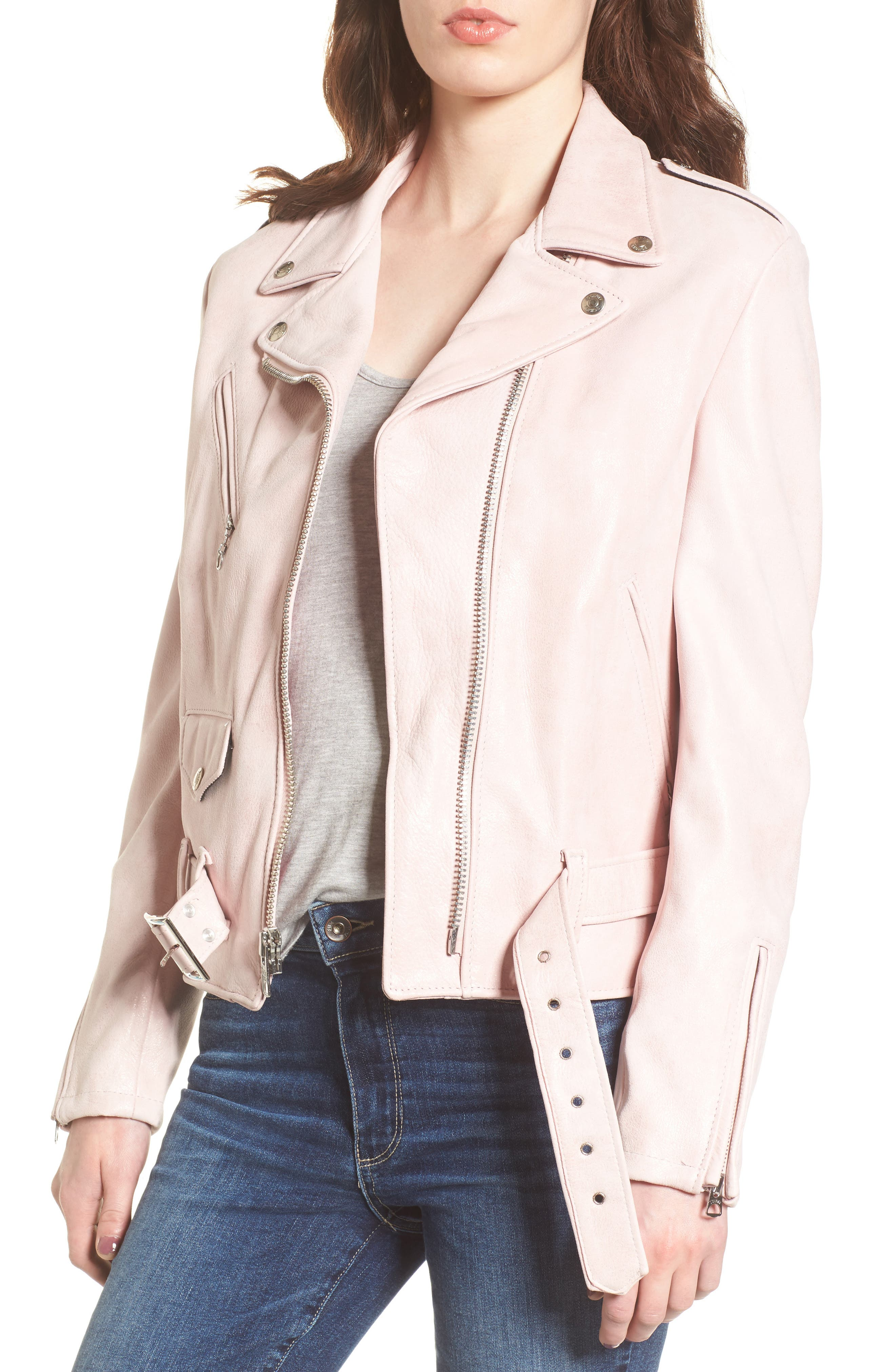 Perfecto Distressed Leather Boyfriend Jacket,                             Main thumbnail 3, color,