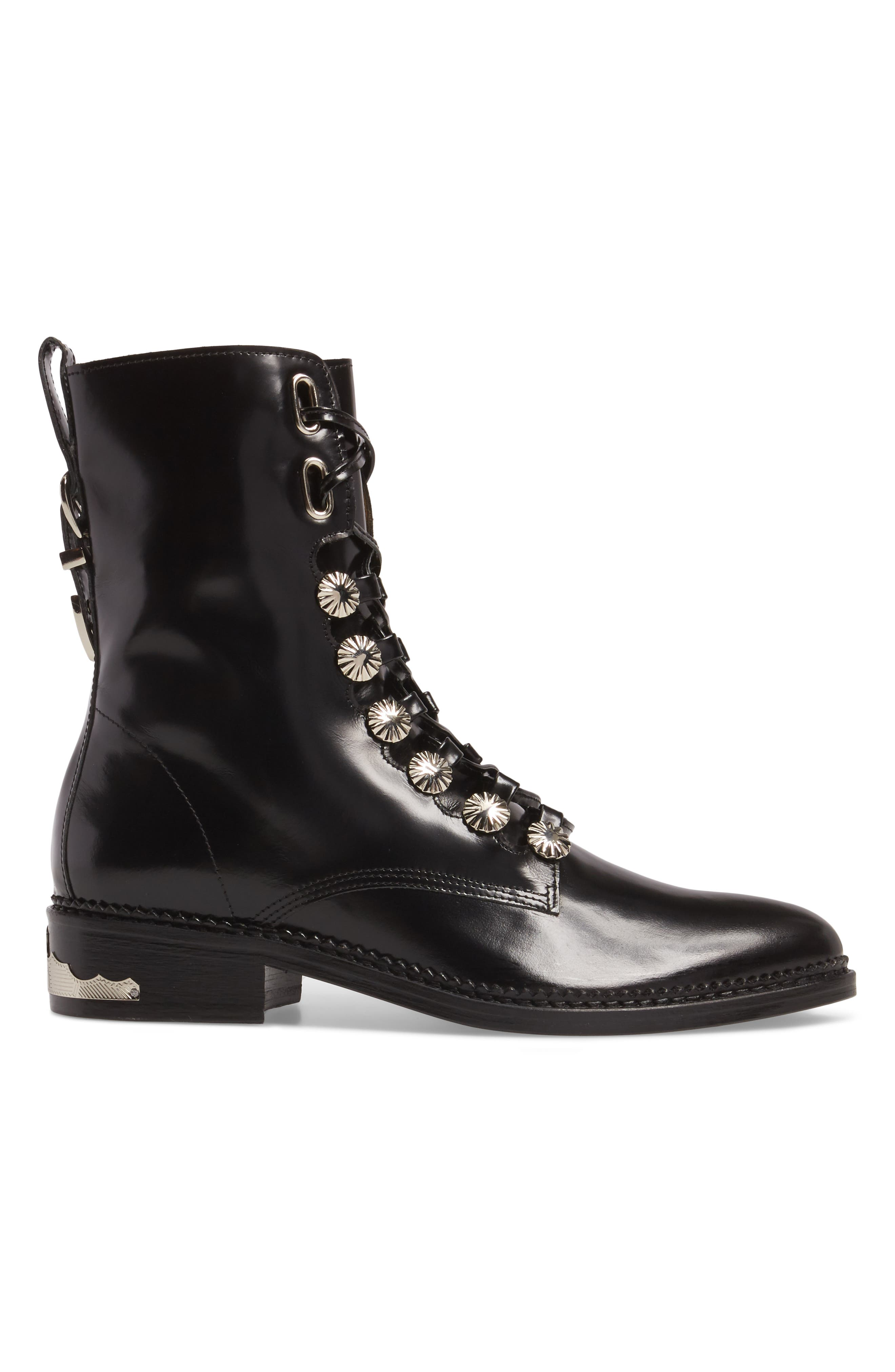 Embellished Lace-Up Boot,                             Alternate thumbnail 3, color,                             001