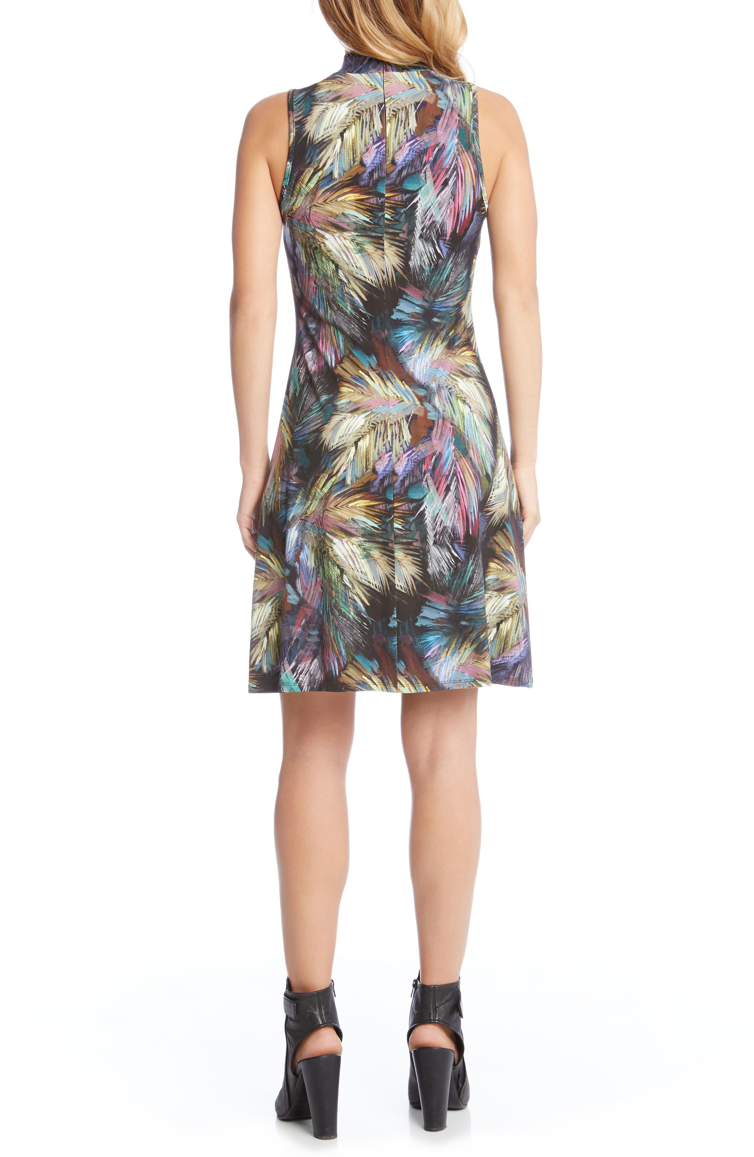 Palm Print A-Line Dress,                             Alternate thumbnail 2, color,                             560