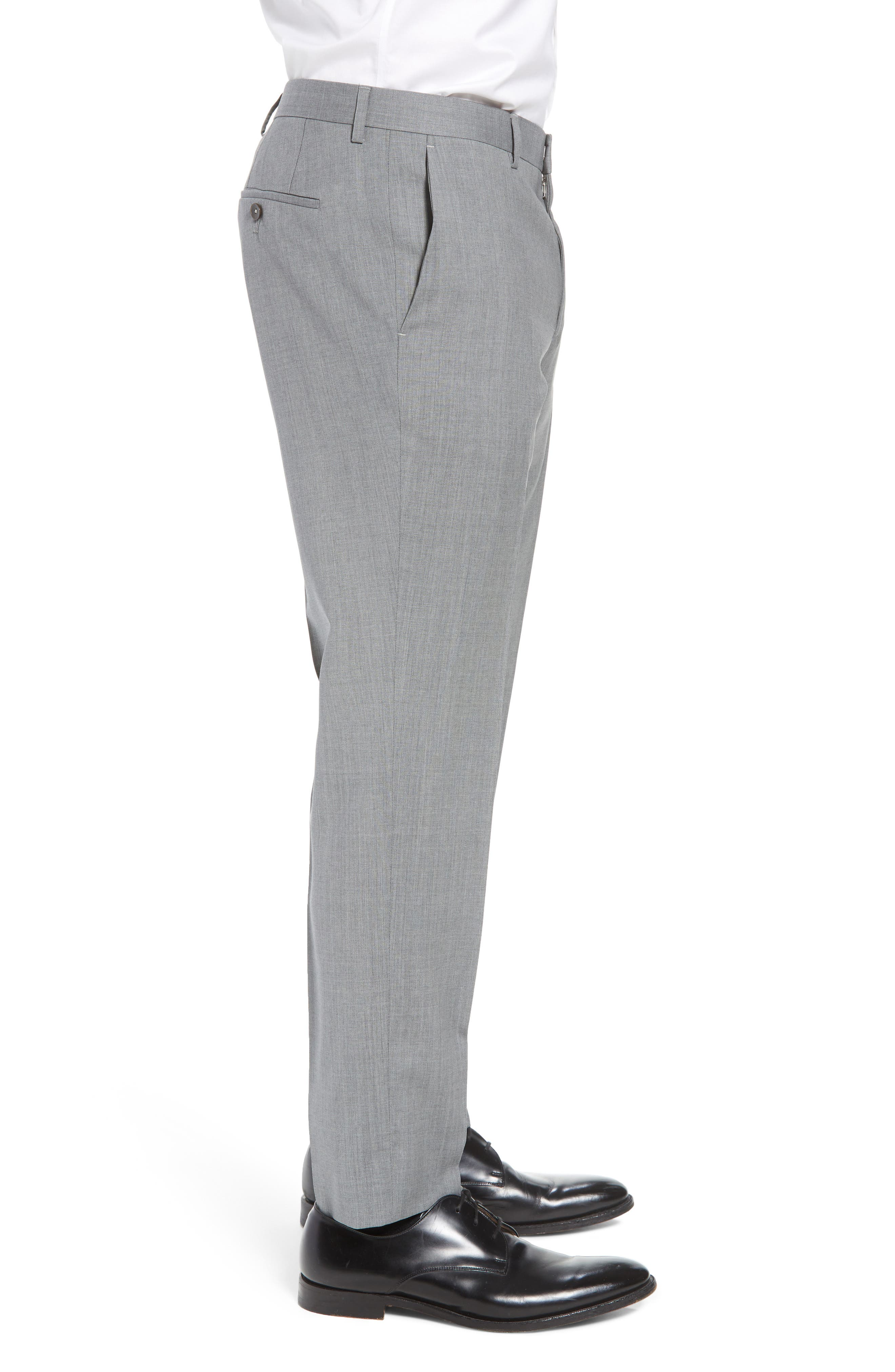 Genesis Flat Front Trim Fit Wool Trousers,                             Alternate thumbnail 4, color,                             GREY