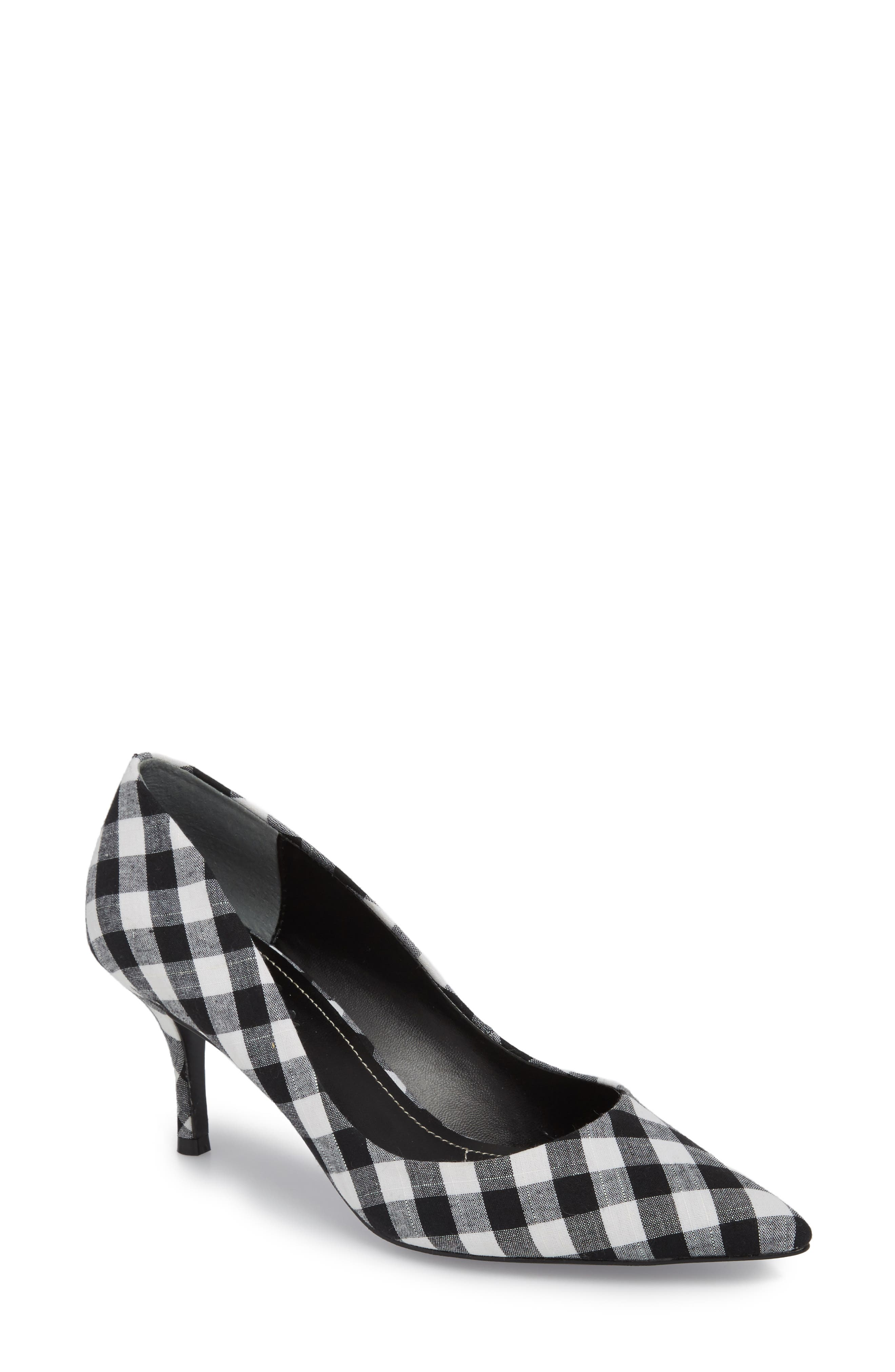 Addie Pump,                         Main,                         color, BLACK/ WHITE GINGHAM FABRIC