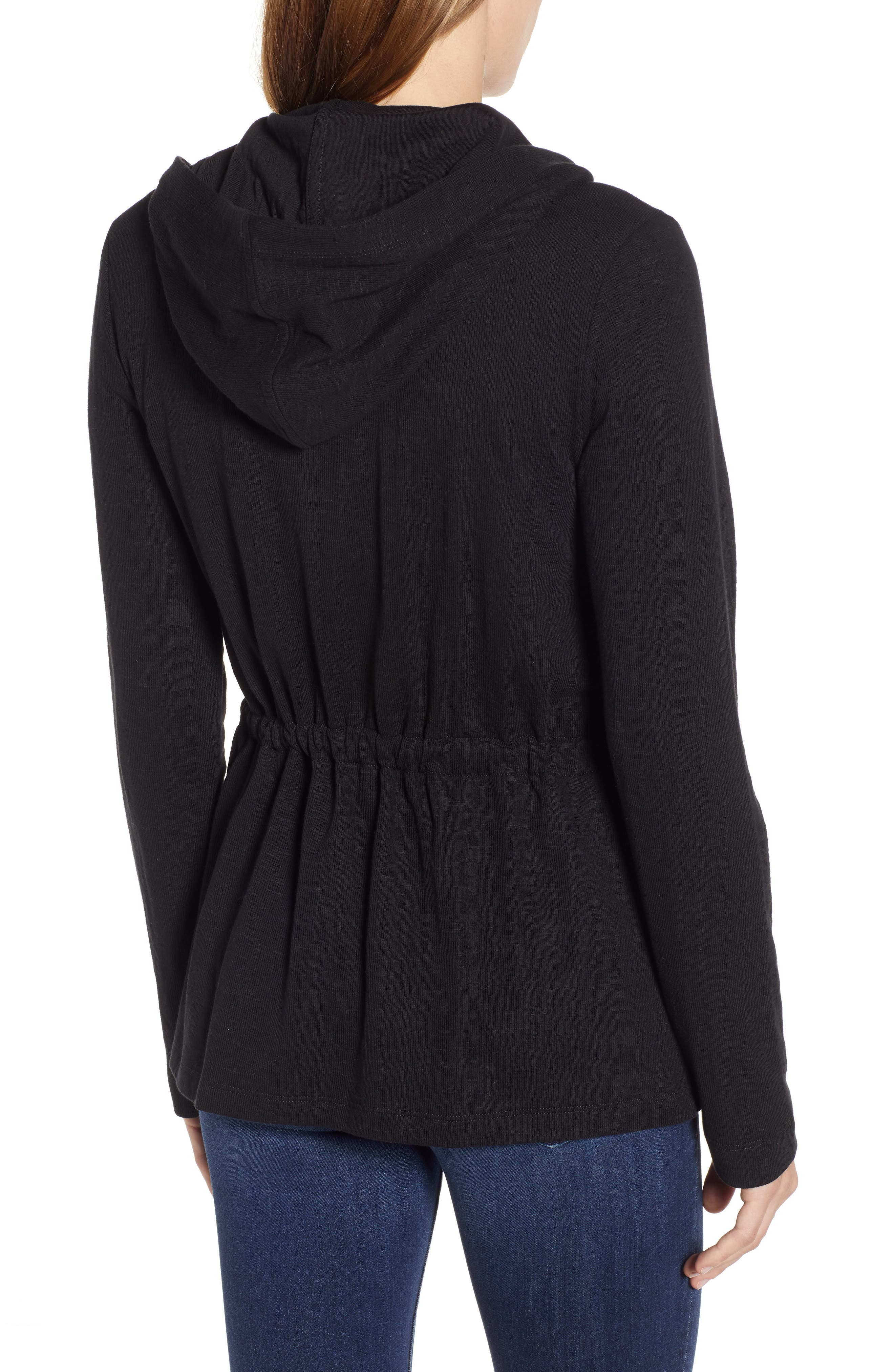 CASLON<SUP>®</SUP>,                             Open Front Hooded Cardigan,                             Alternate thumbnail 2, color,                             BLACK