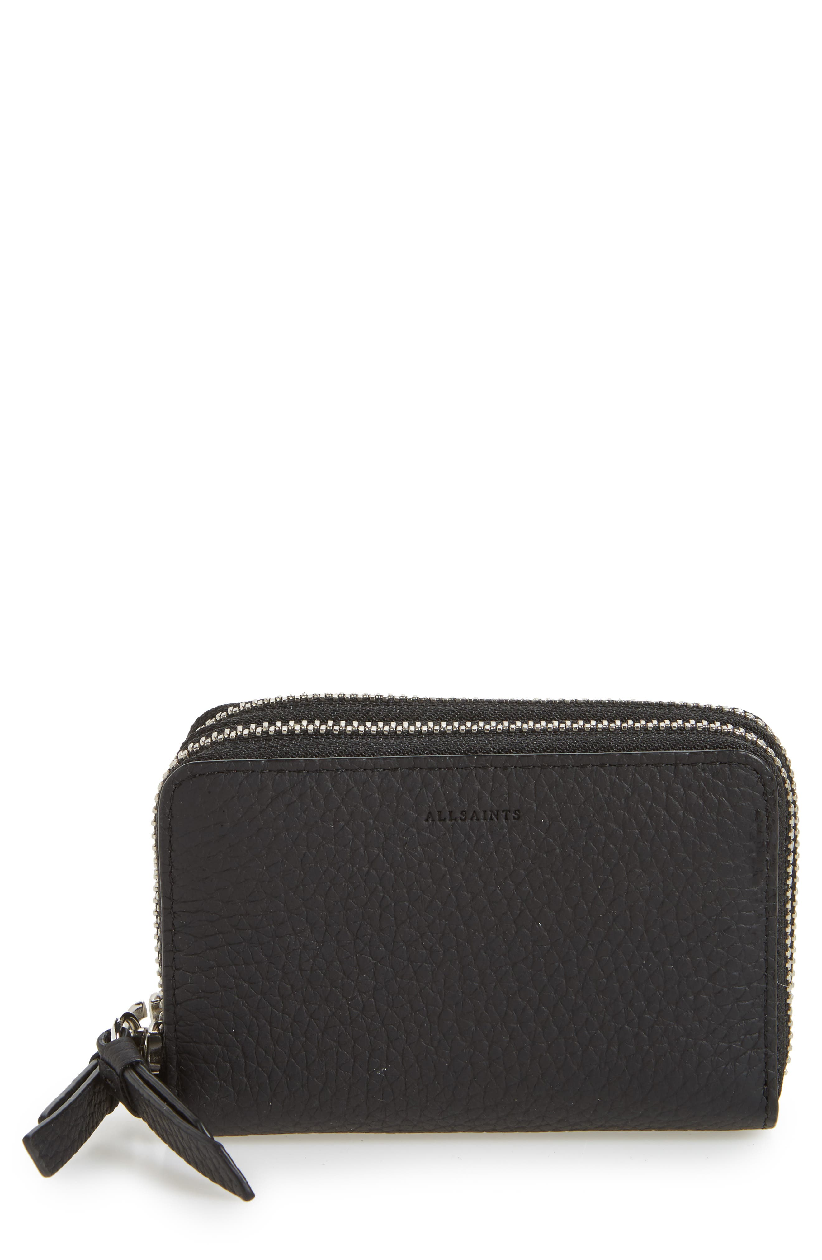 Fetch Leather Card Holder,                             Main thumbnail 1, color,                             BLACK