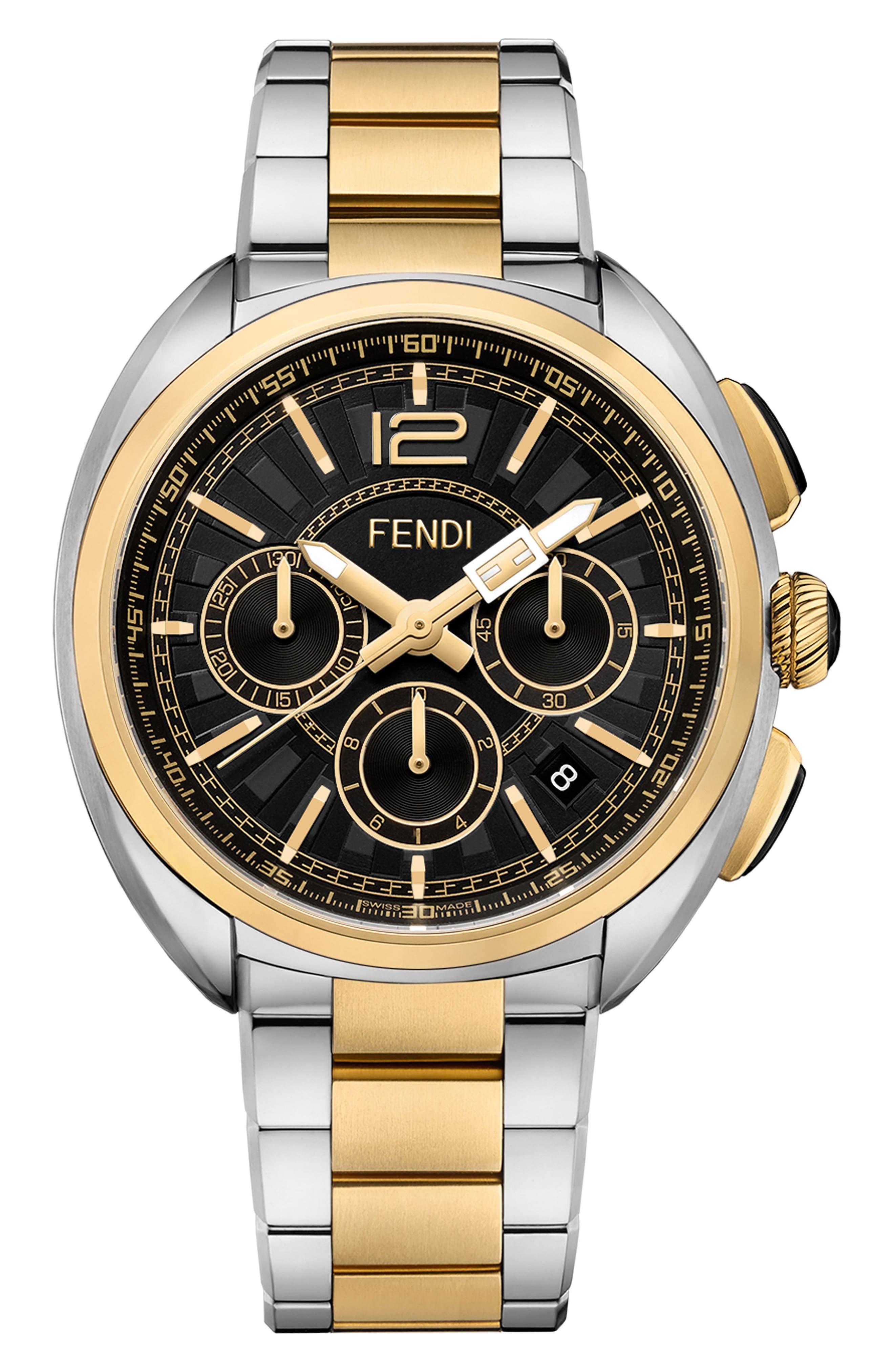 Momento Chronograph Bracelet Watch, 46mm,                         Main,                         color, SILVER/ BLACK/ GOLD