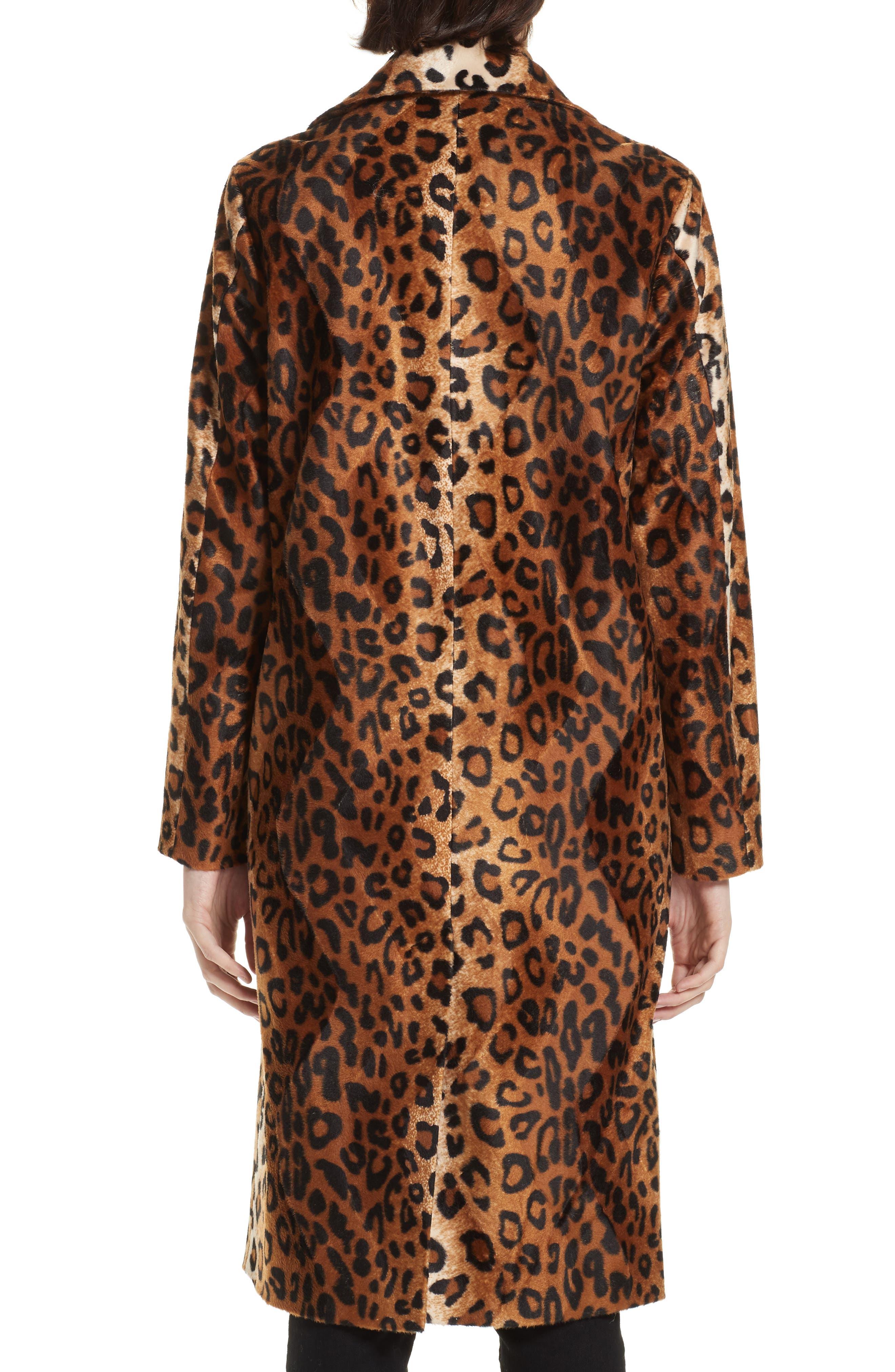 Faux Leopard Fur Coat,                             Alternate thumbnail 2, color,                             BROWN LEOPARD
