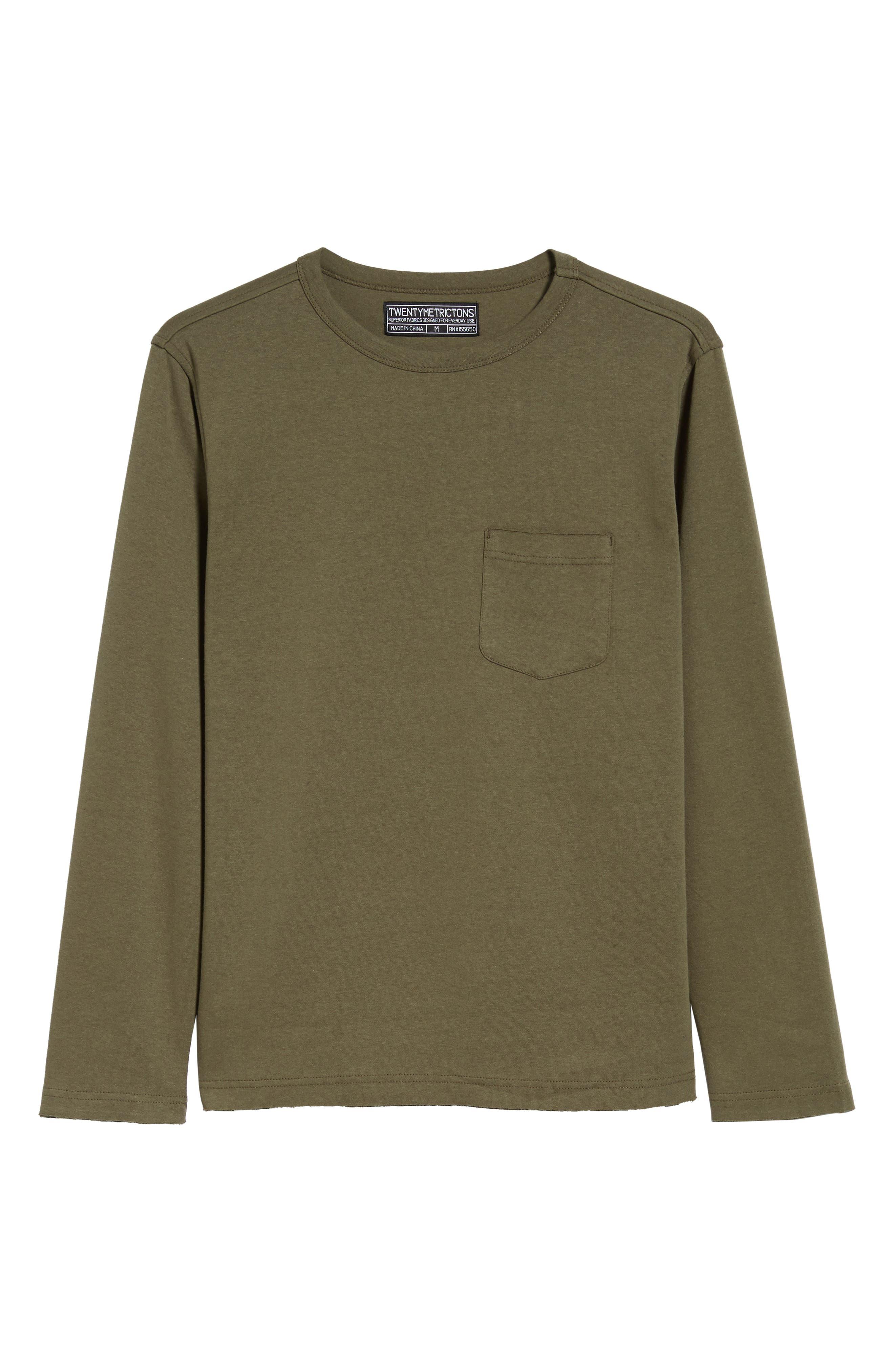 Trim Fit Long Sleeve Pocket T-Shirt,                             Alternate thumbnail 6, color,                             OLIVE