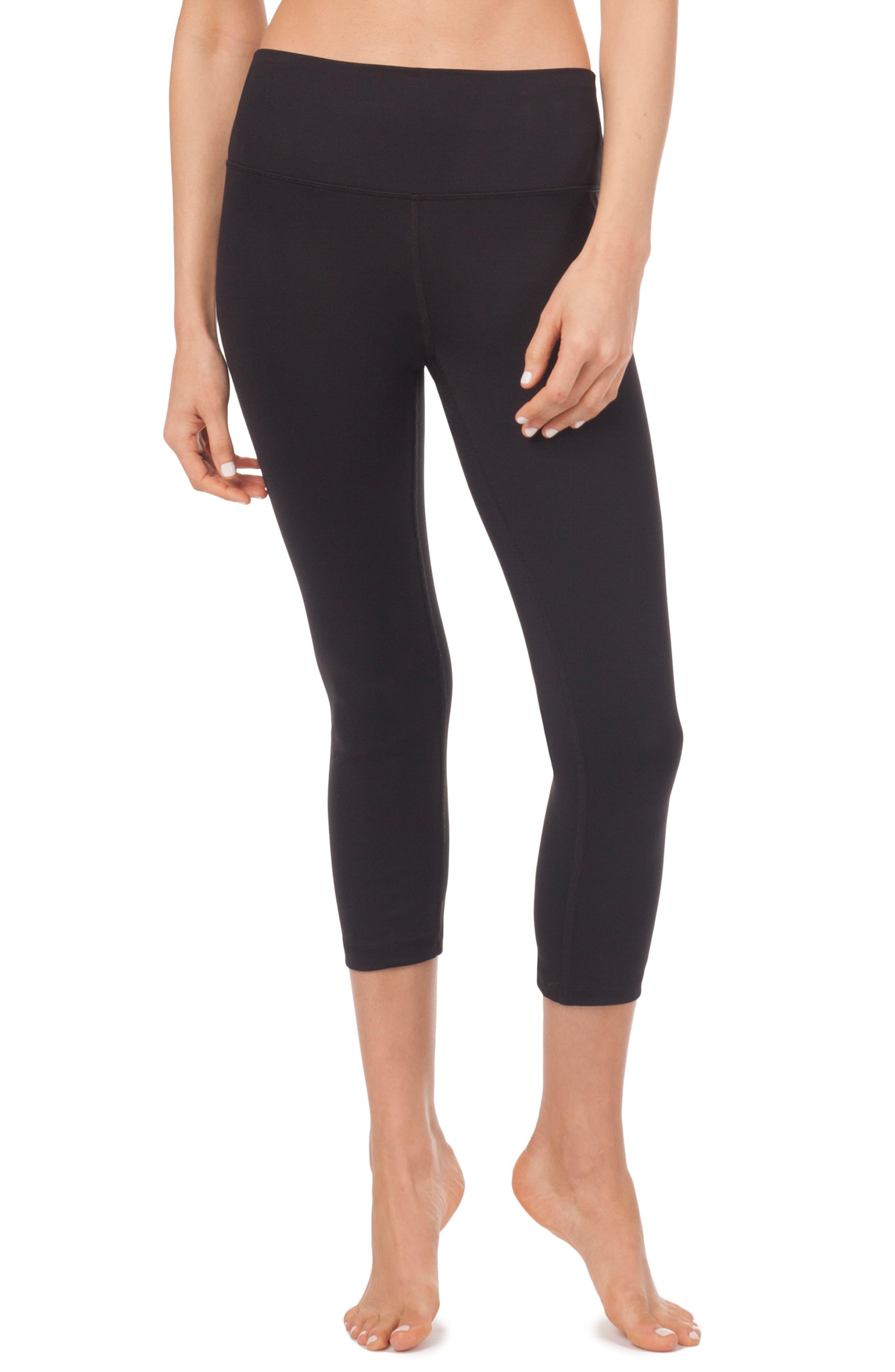 The Active High Waist Crop Leggings,                         Main,                         color, JET BLACK