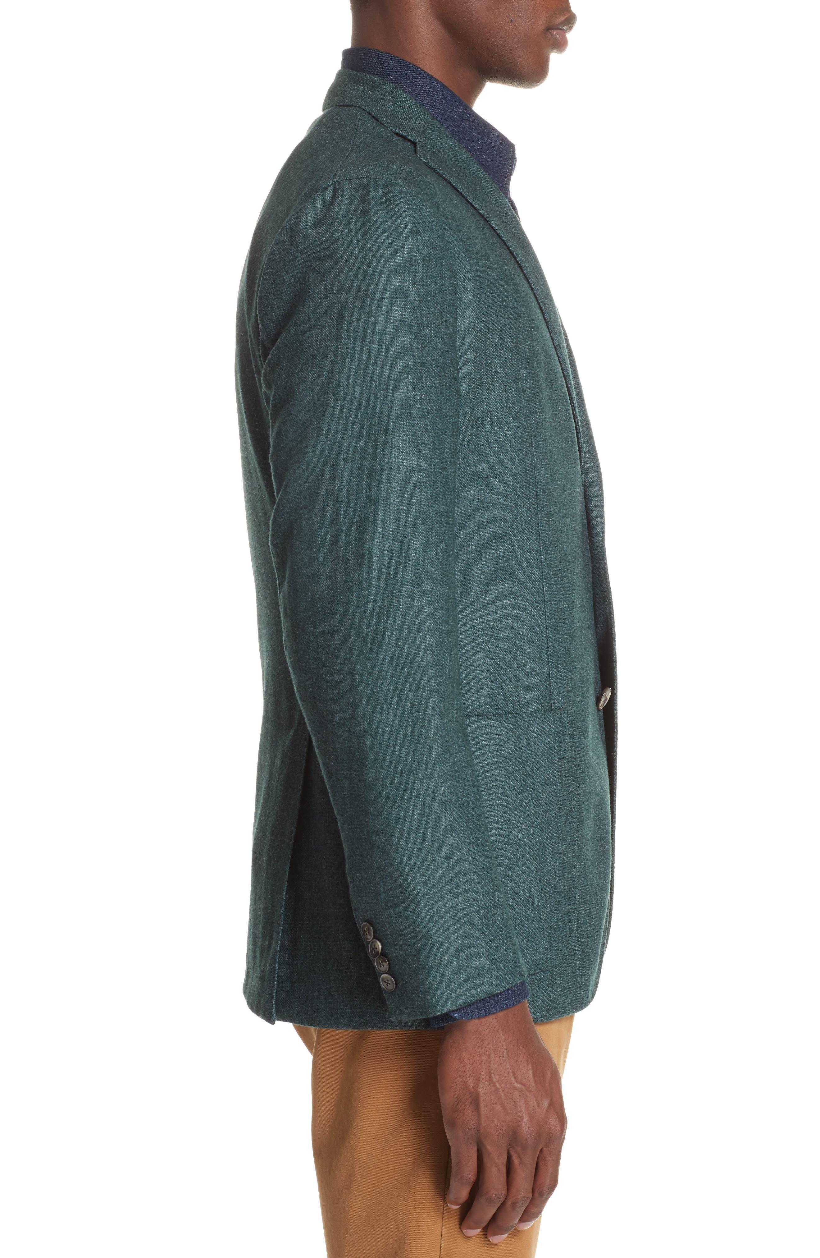Trim Fit Cashmere Blend Blazer,                             Alternate thumbnail 3, color,                             GREEN