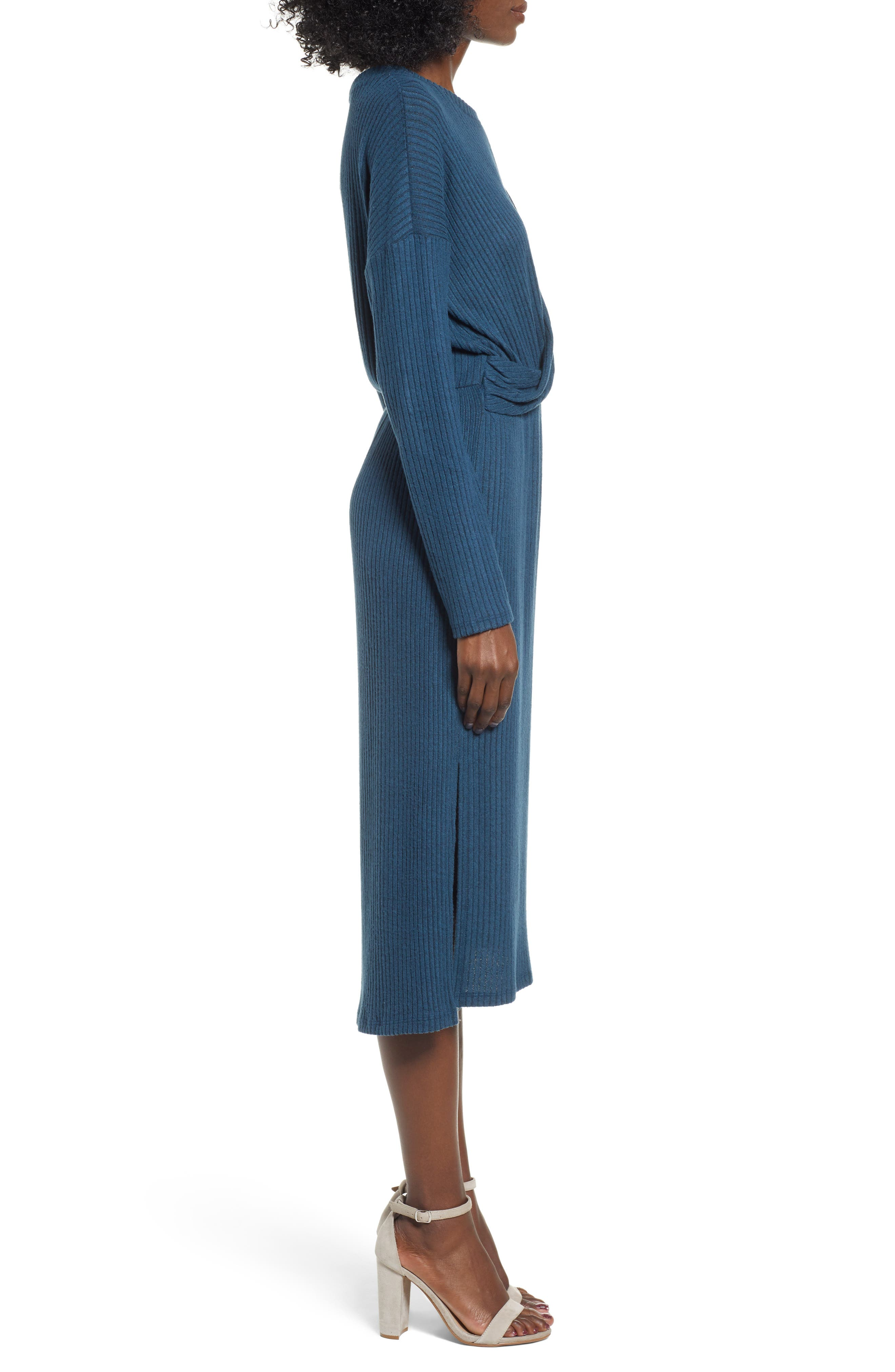 ALL IN FAVOR,                             Rib Knit Midi Dress,                             Alternate thumbnail 3, color,                             MIDNIGHT NAVY