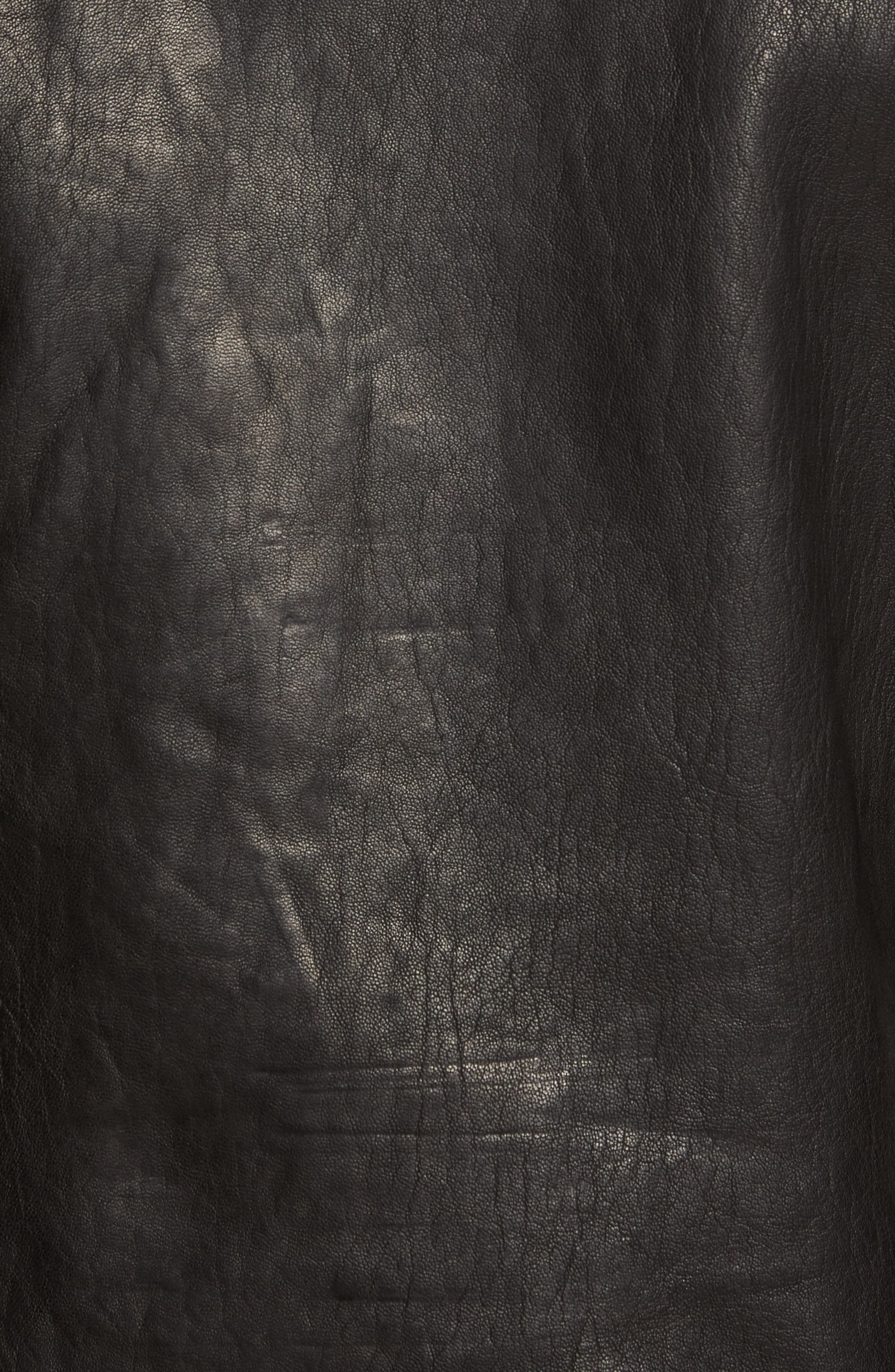 Leather Moto Jacket,                             Alternate thumbnail 6, color,                             BLACK