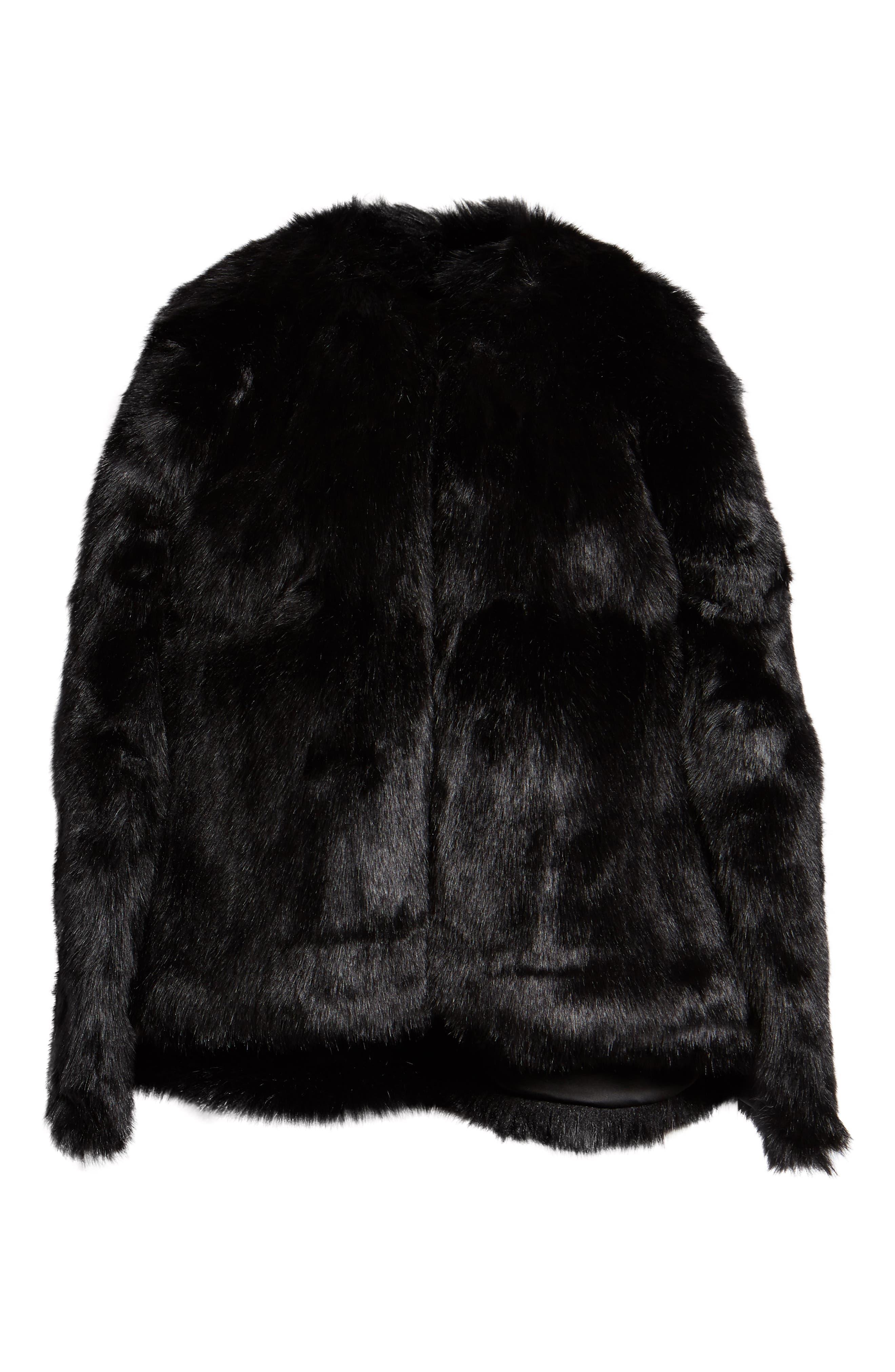 Faux Fur Cape,                             Alternate thumbnail 6, color,                             BLACK SHORT FOX