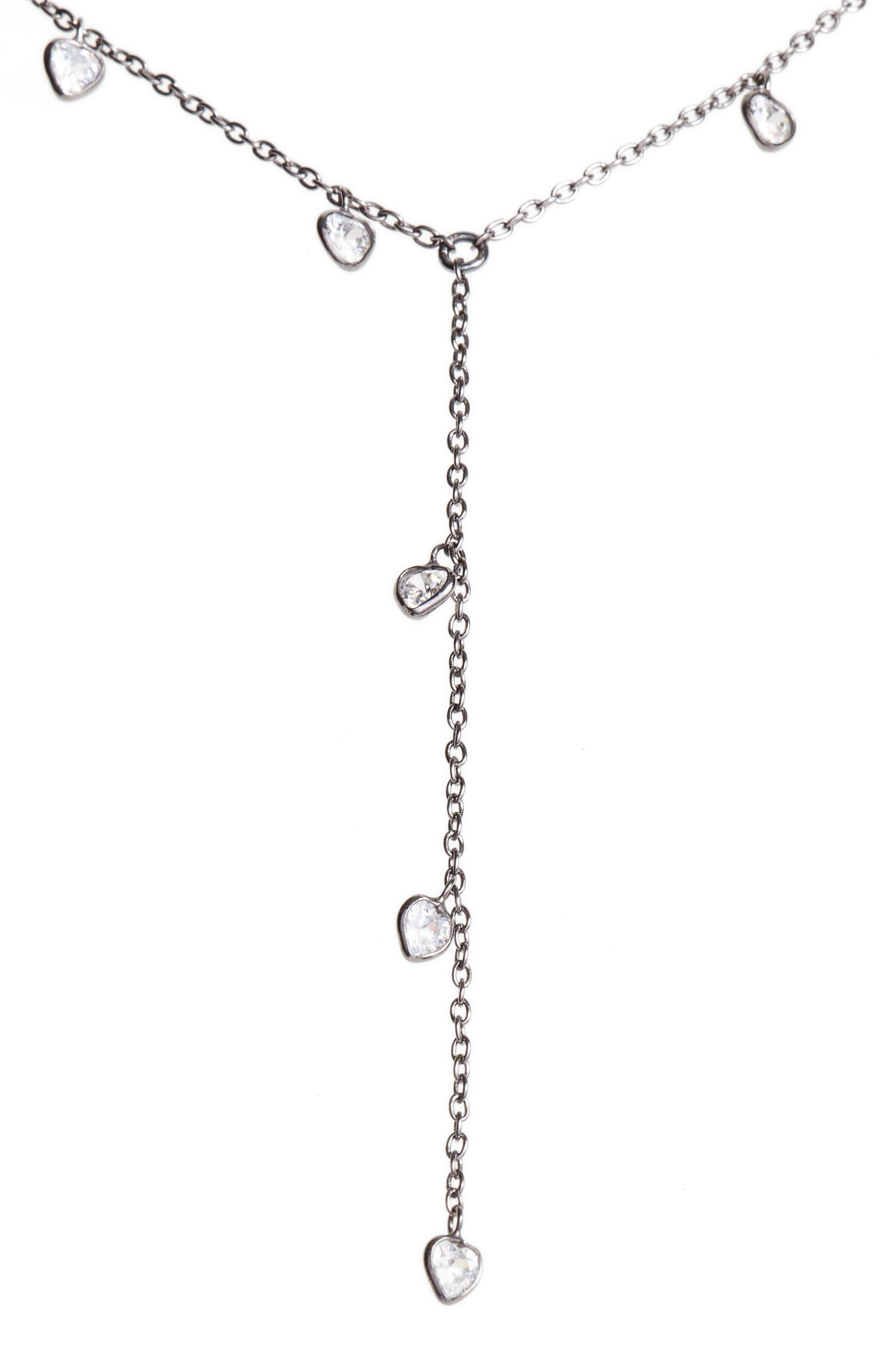 ELA RAE,                             Yaeli Cubic Zirconia Y-Necklace,                             Main thumbnail 1, color,                             BLACK