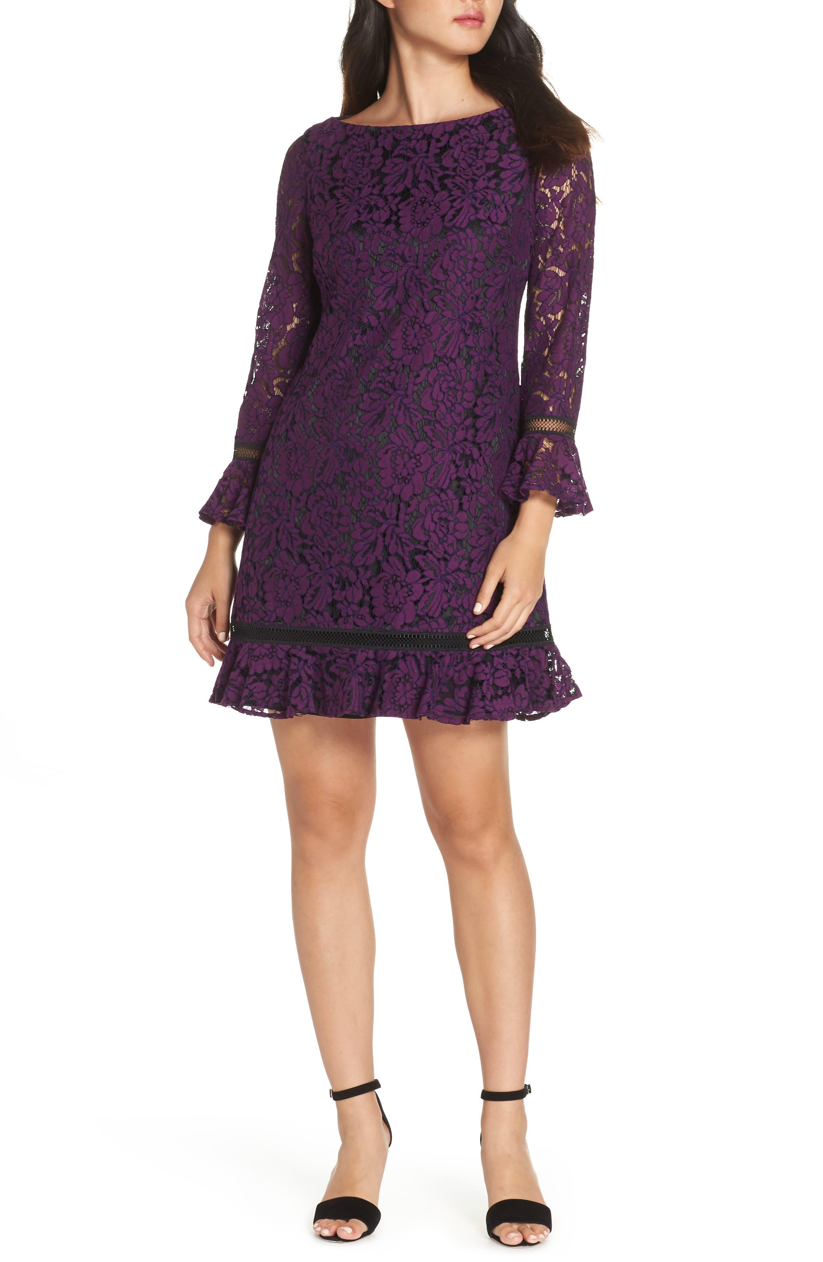 Eliza J Bell Sleeve Lace Shift Dress, Purple