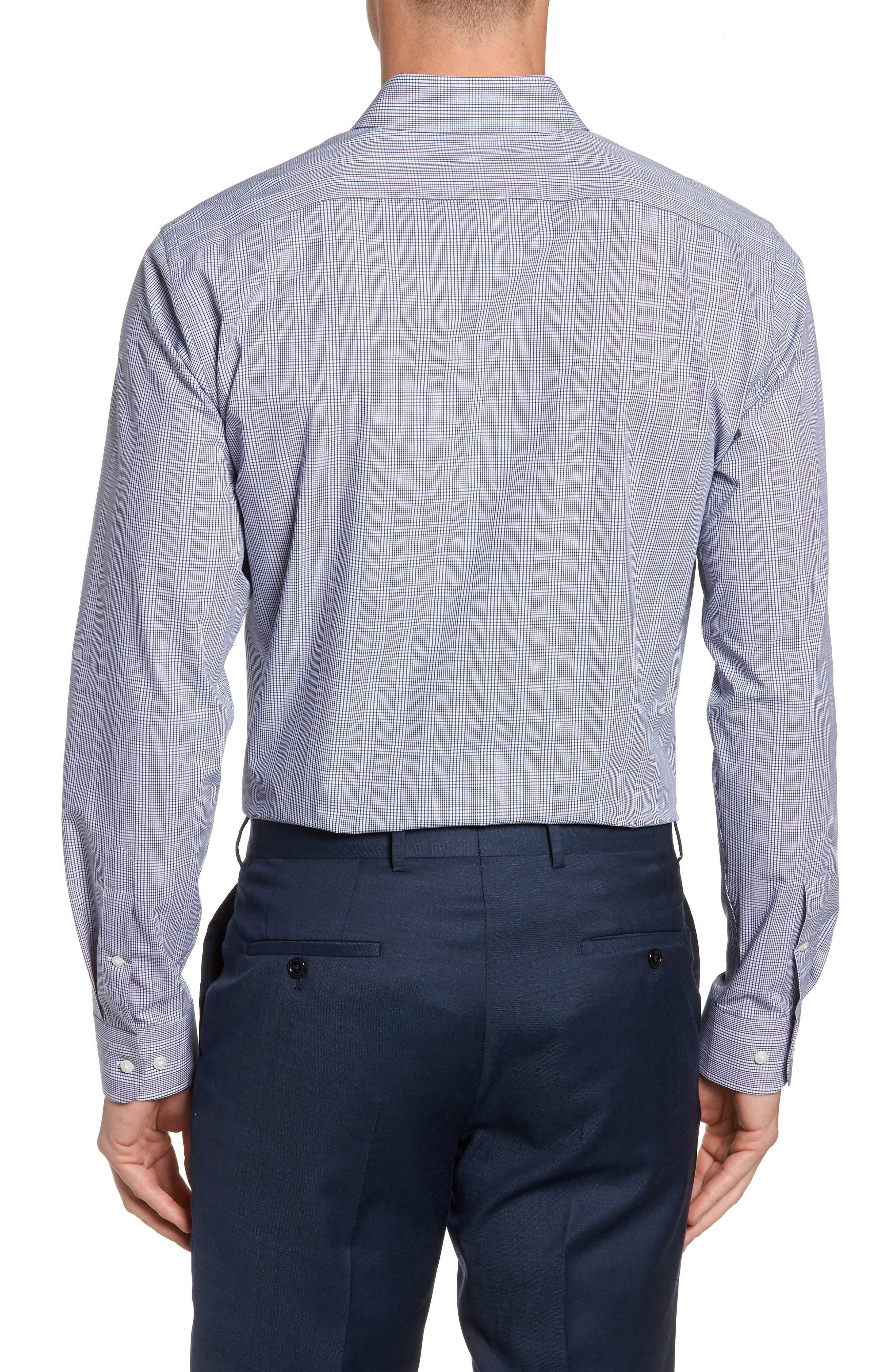 Tech-Smart Trim Fit Stretch Plaid Dress Shirt,                             Alternate thumbnail 3, color,                             401