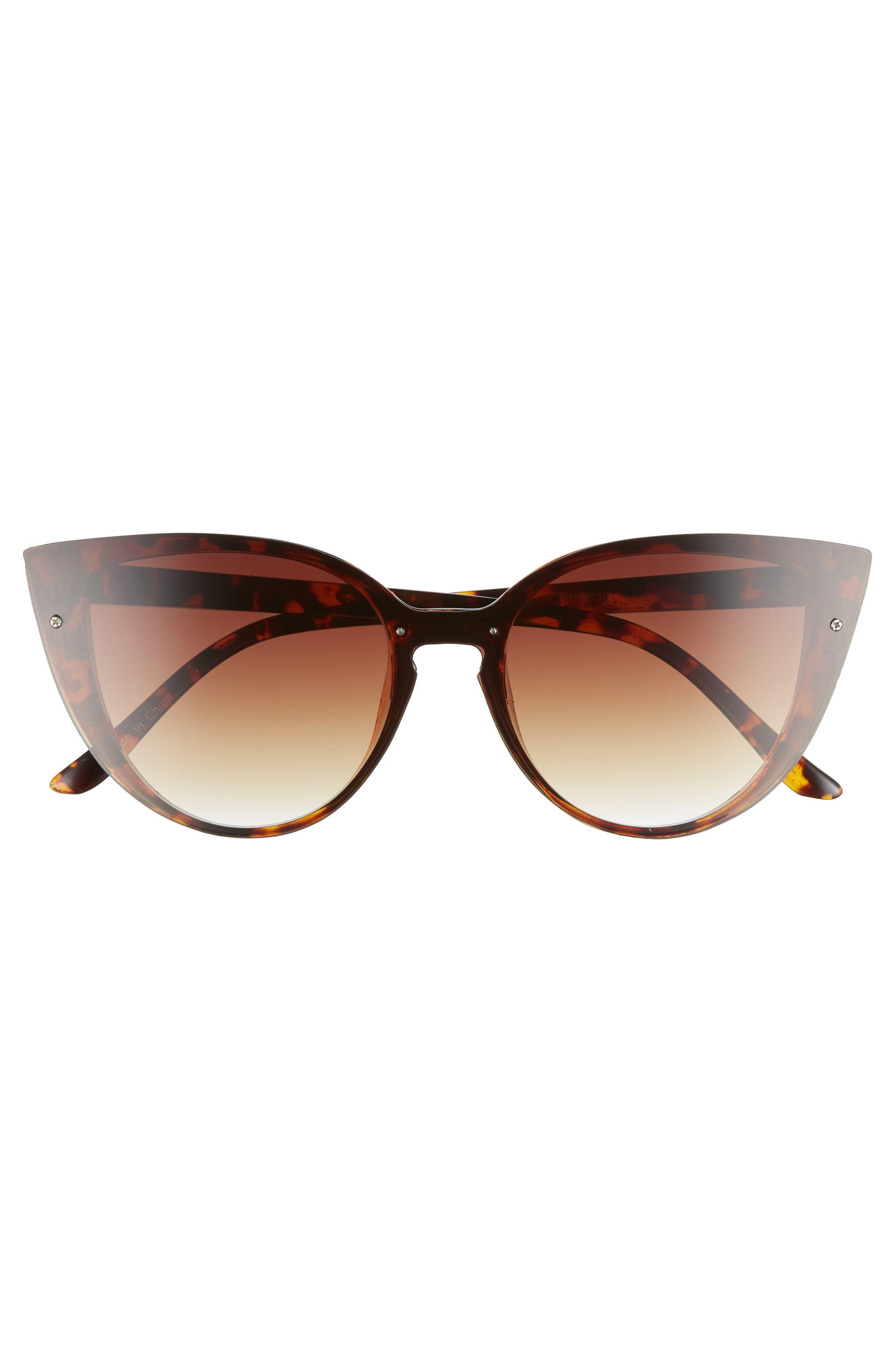 52mm Flat Cat Eye Sunglasses,                             Alternate thumbnail 3, color,                             200